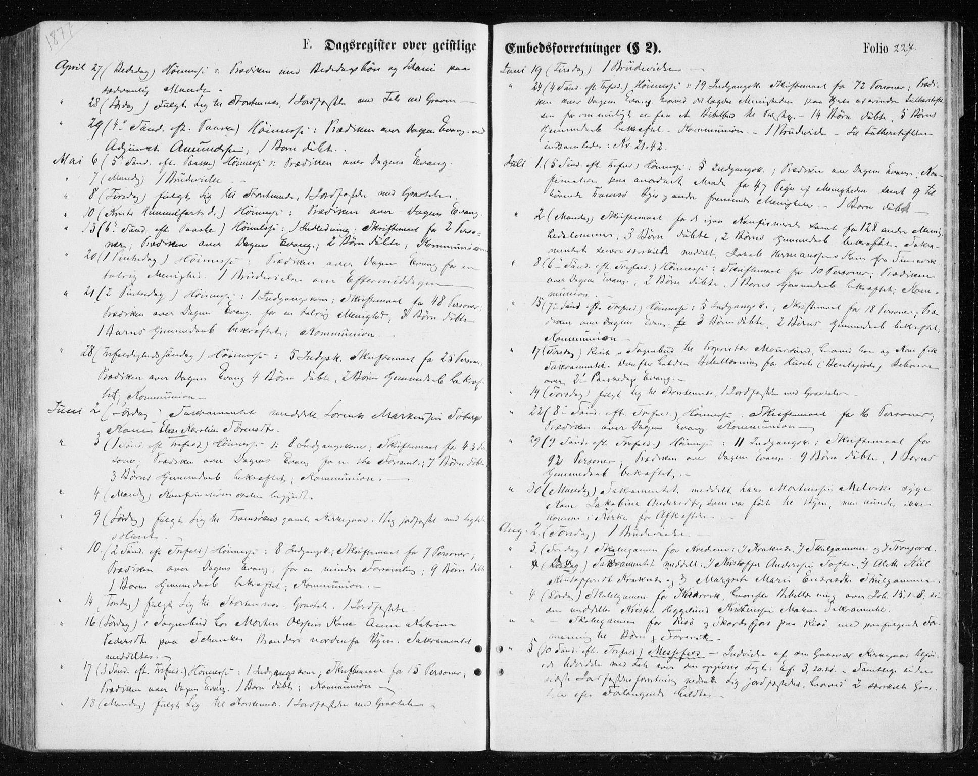SATØ, Tromsøysund sokneprestkontor, G/Ga/L0003kirke: Parish register (official) no. 3, 1875-1880, p. 227