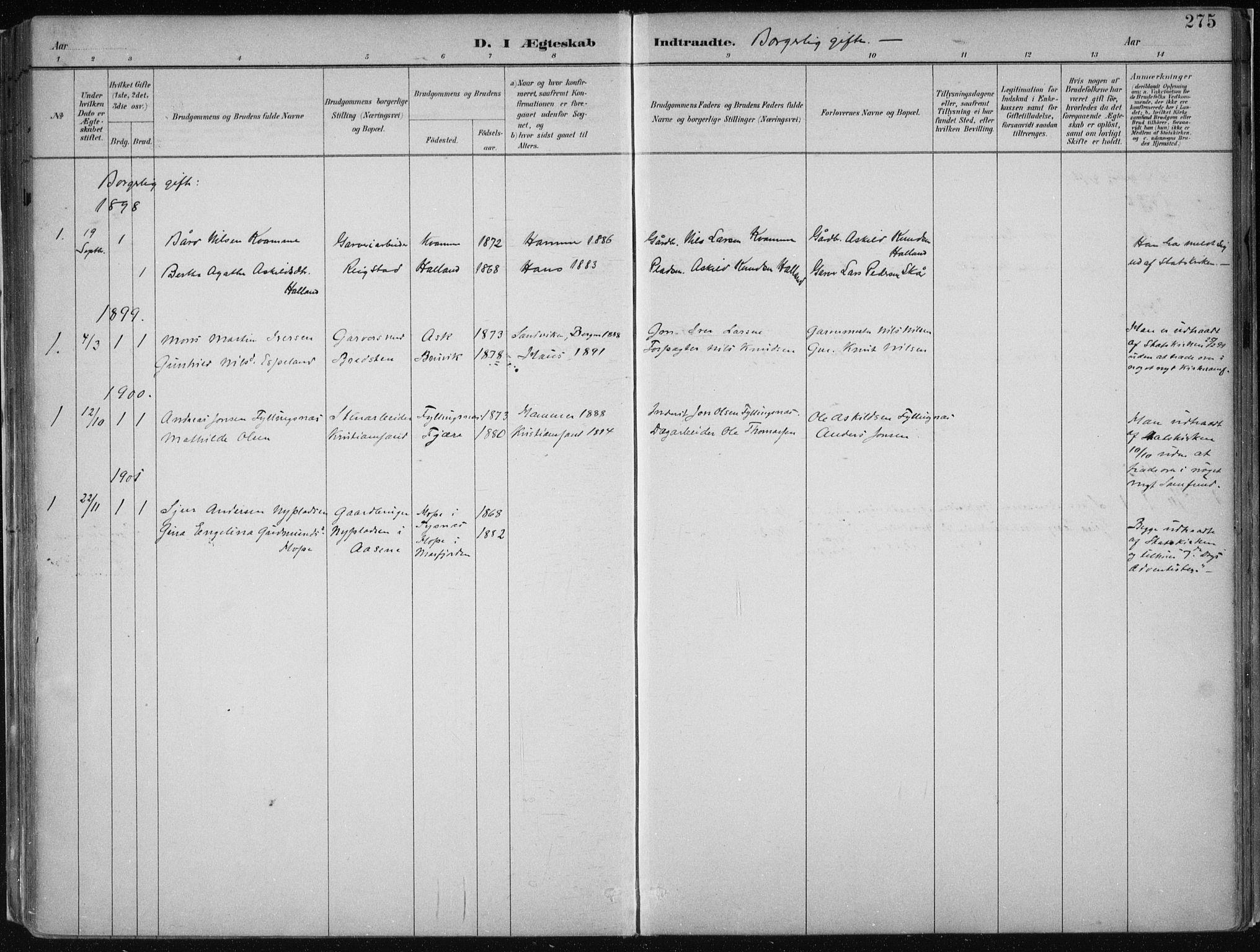 SAB, Hamre Sokneprestembete, H/Haa: Parish register (official) no. B  1, 1882-1905, p. 275
