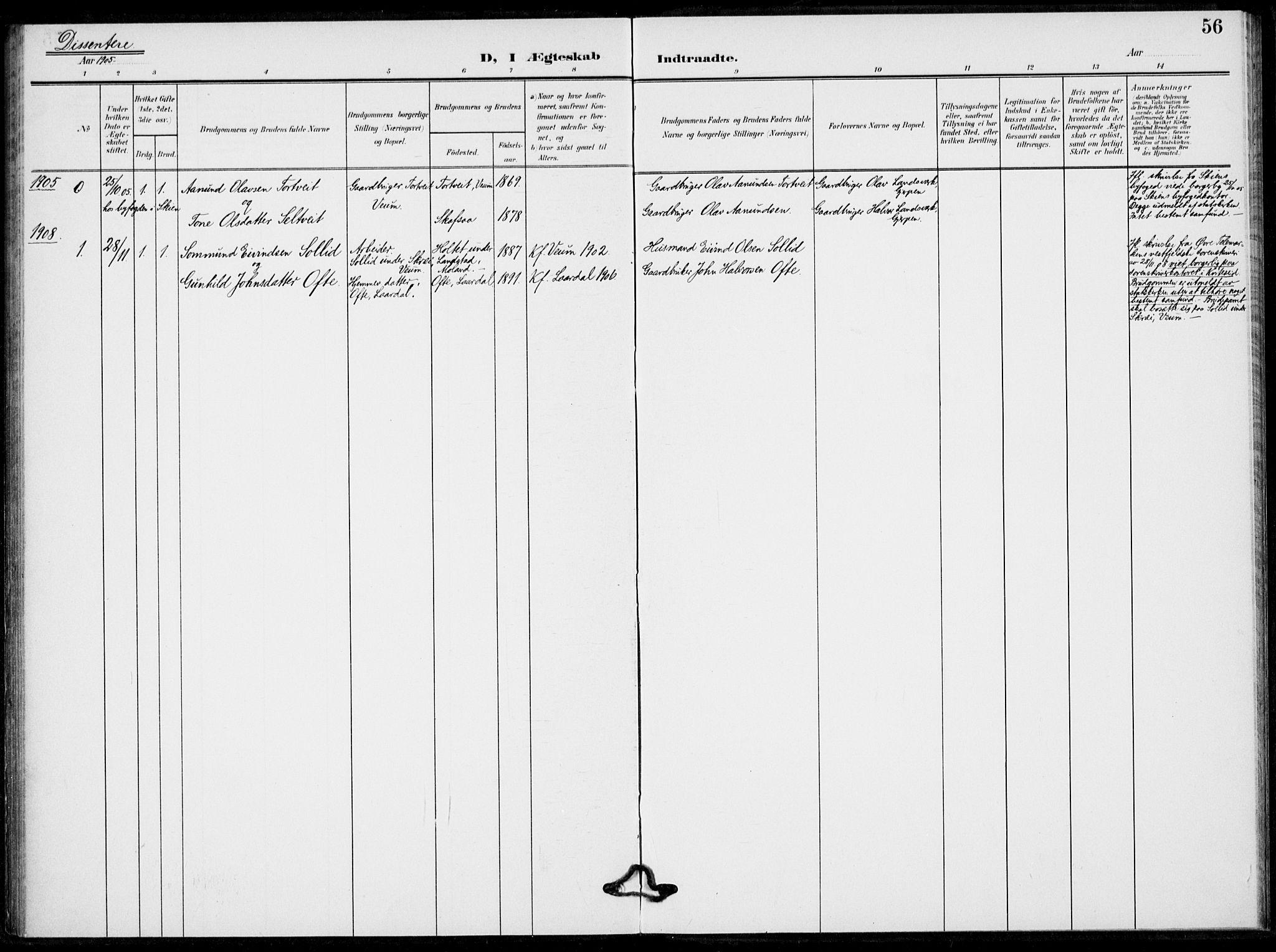 SAKO, Fyresdal kirkebøker, F/Fb/L0004: Parish register (official) no. II 4, 1903-1920, p. 56
