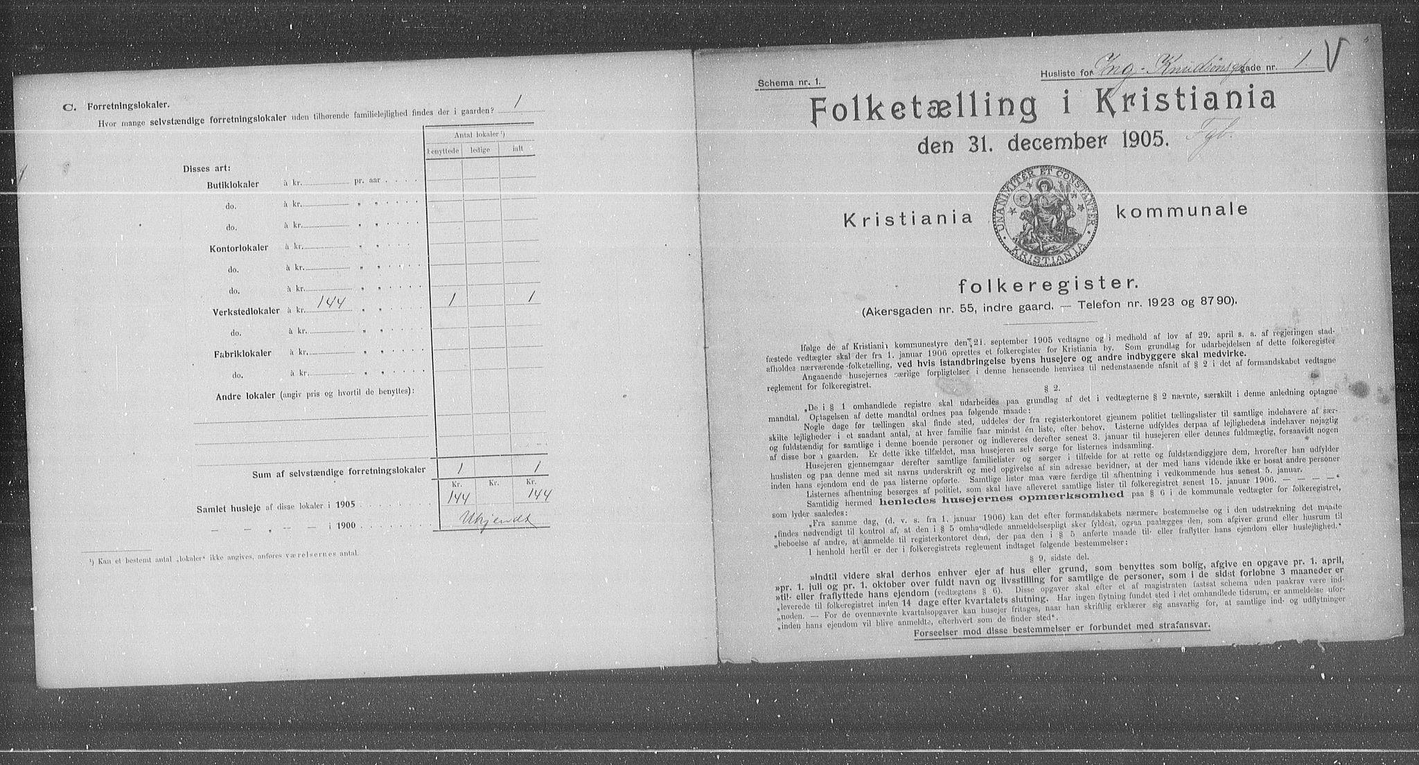 OBA, Municipal Census 1905 for Kristiania, 1905, p. 23085