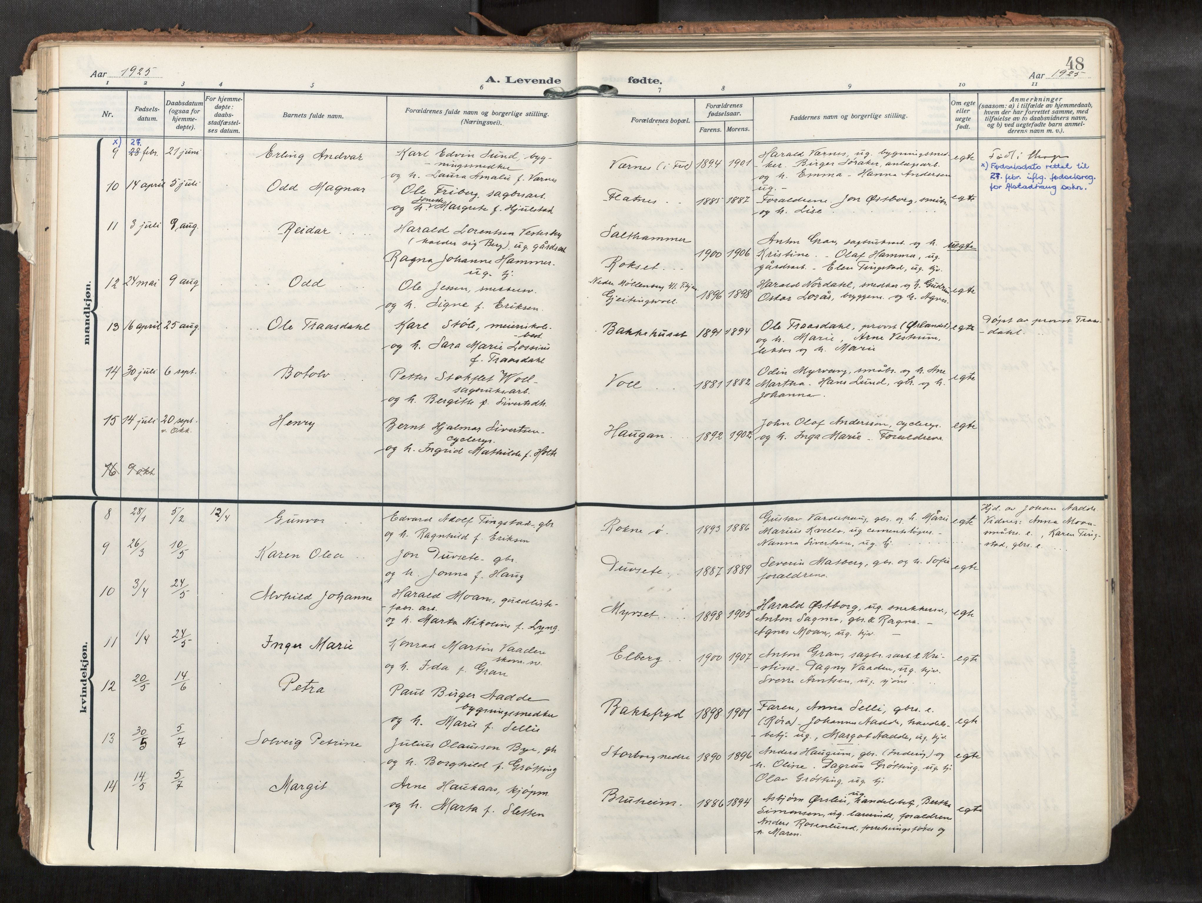 SAT, Levanger sokneprestkontor*, Parish register (official) no. 1, 1912-1935, p. 48