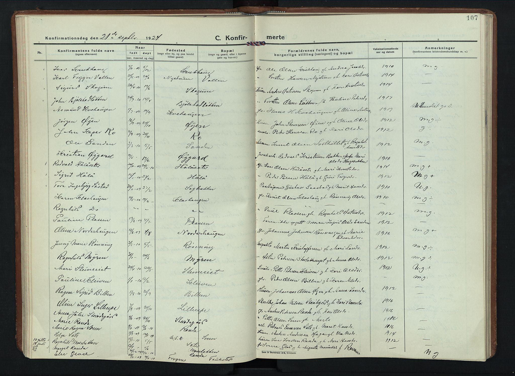 SAH, Sel prestekontor, Parish register (copy) no. 6, 1923-1953, p. 107