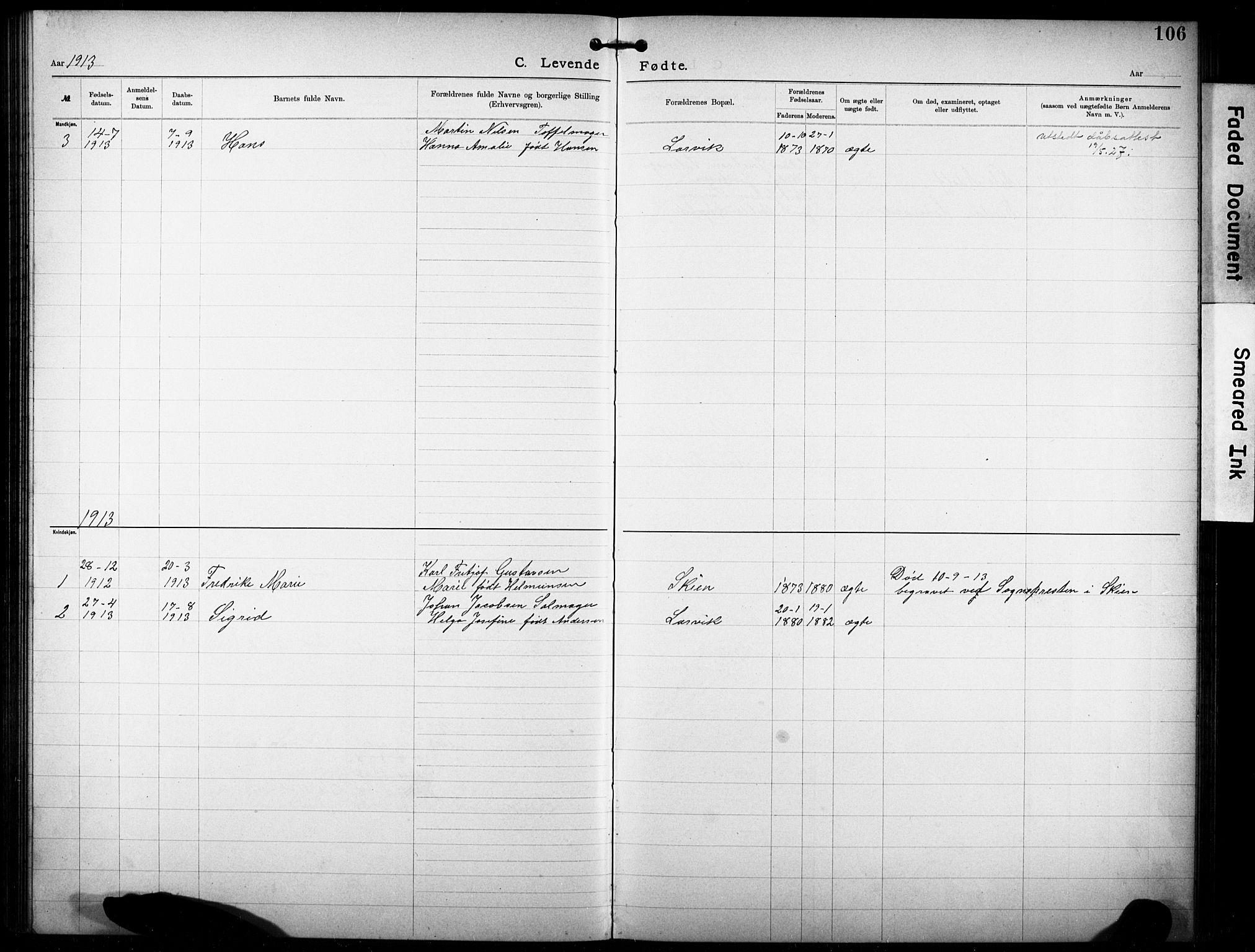 SAKO, Den katolsk-apostoliske menighet i Larvik, F/Fa/L0001: Dissenter register no. 1, 1892-1933, p. 106