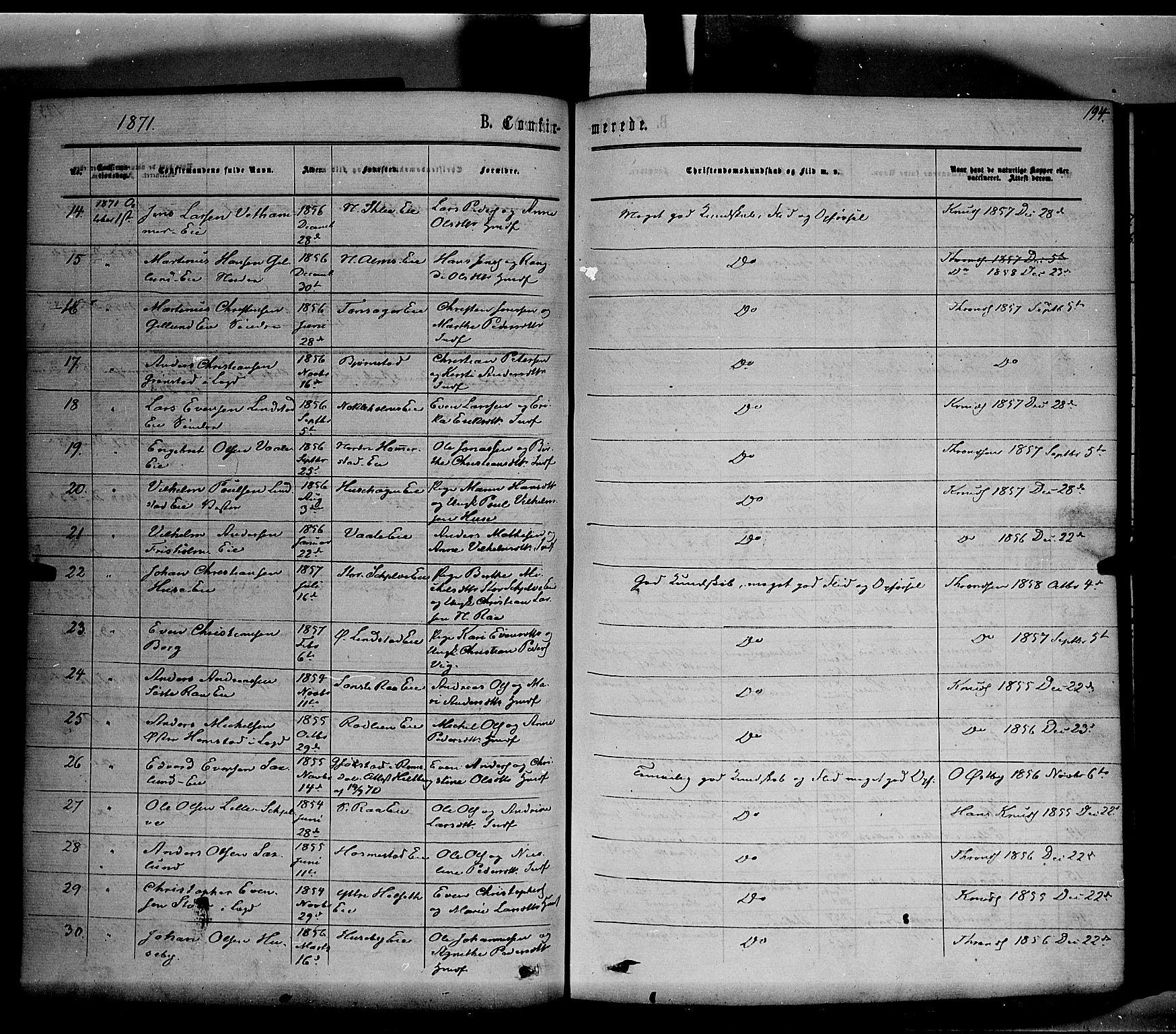 SAH, Stange prestekontor, K/L0013: Parish register (official) no. 13, 1862-1879, p. 194