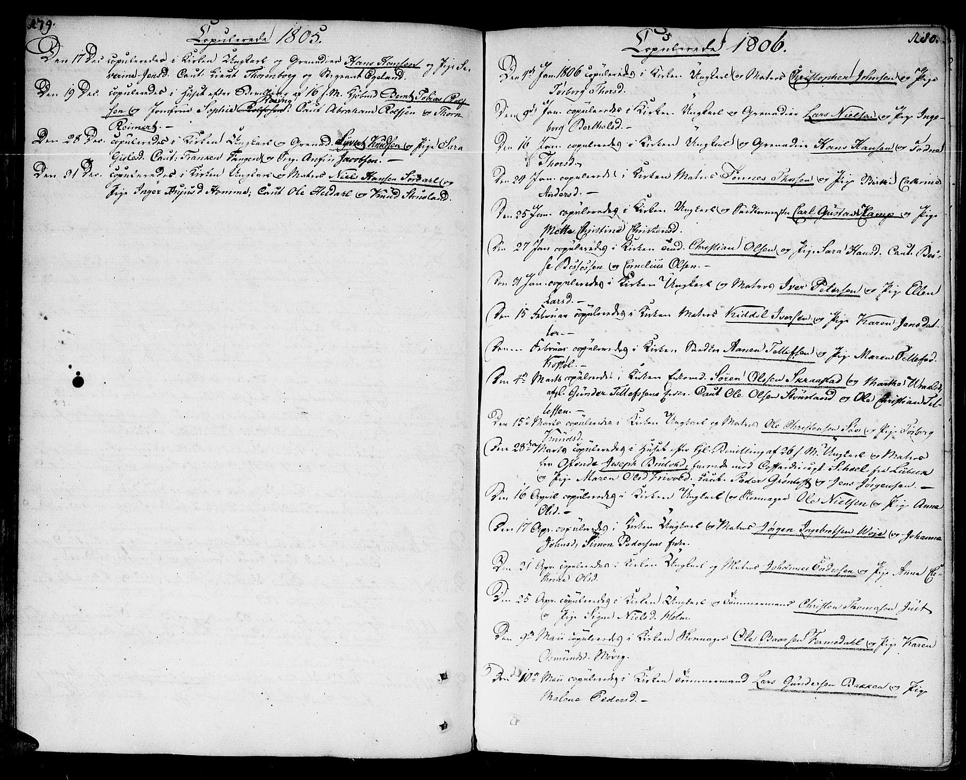 SAK, Kristiansand domprosti, F/Fa/L0005: Parish register (official) no. A 5, 1776-1818, p. 179-180