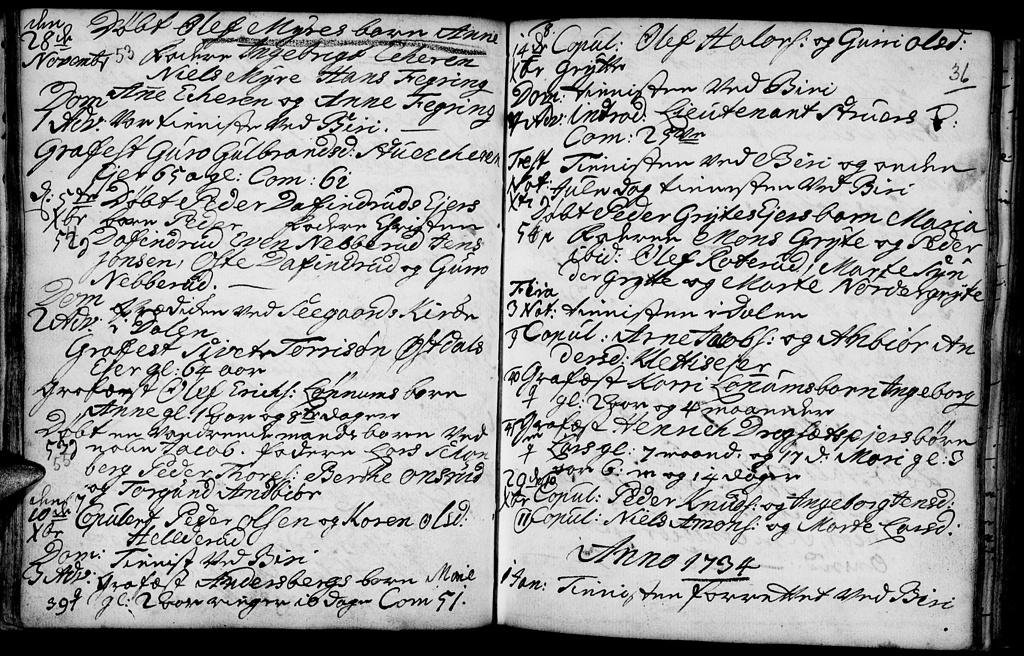 SAH, Biri prestekontor, Parish register (official) no. 1, 1730-1754, p. 36