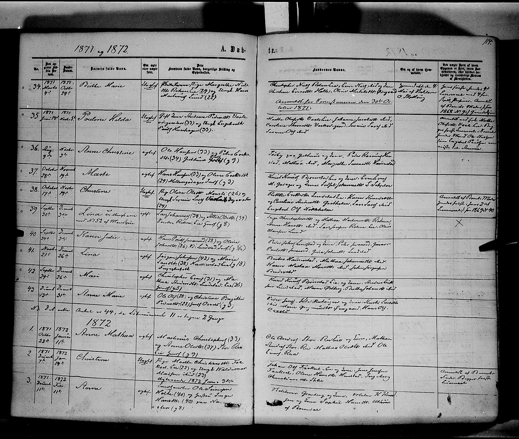 SAH, Stange prestekontor, K/L0013: Parish register (official) no. 13, 1862-1879, p. 114