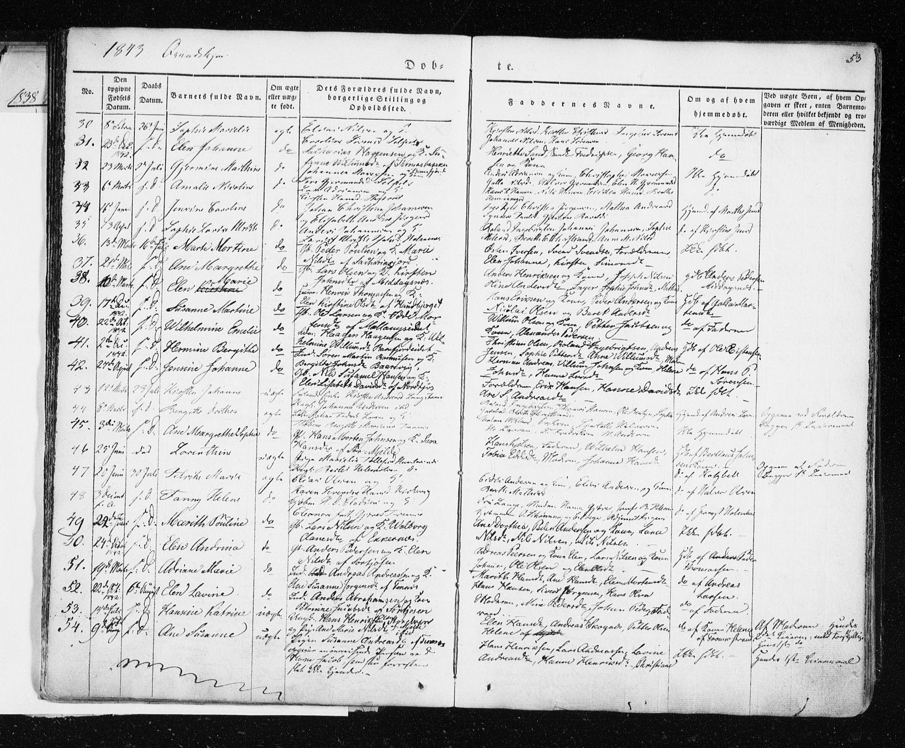 SATØ, Tromsø sokneprestkontor/stiftsprosti/domprosti, G/Ga/L0009kirke: Parish register (official) no. 9, 1837-1847, p. 53
