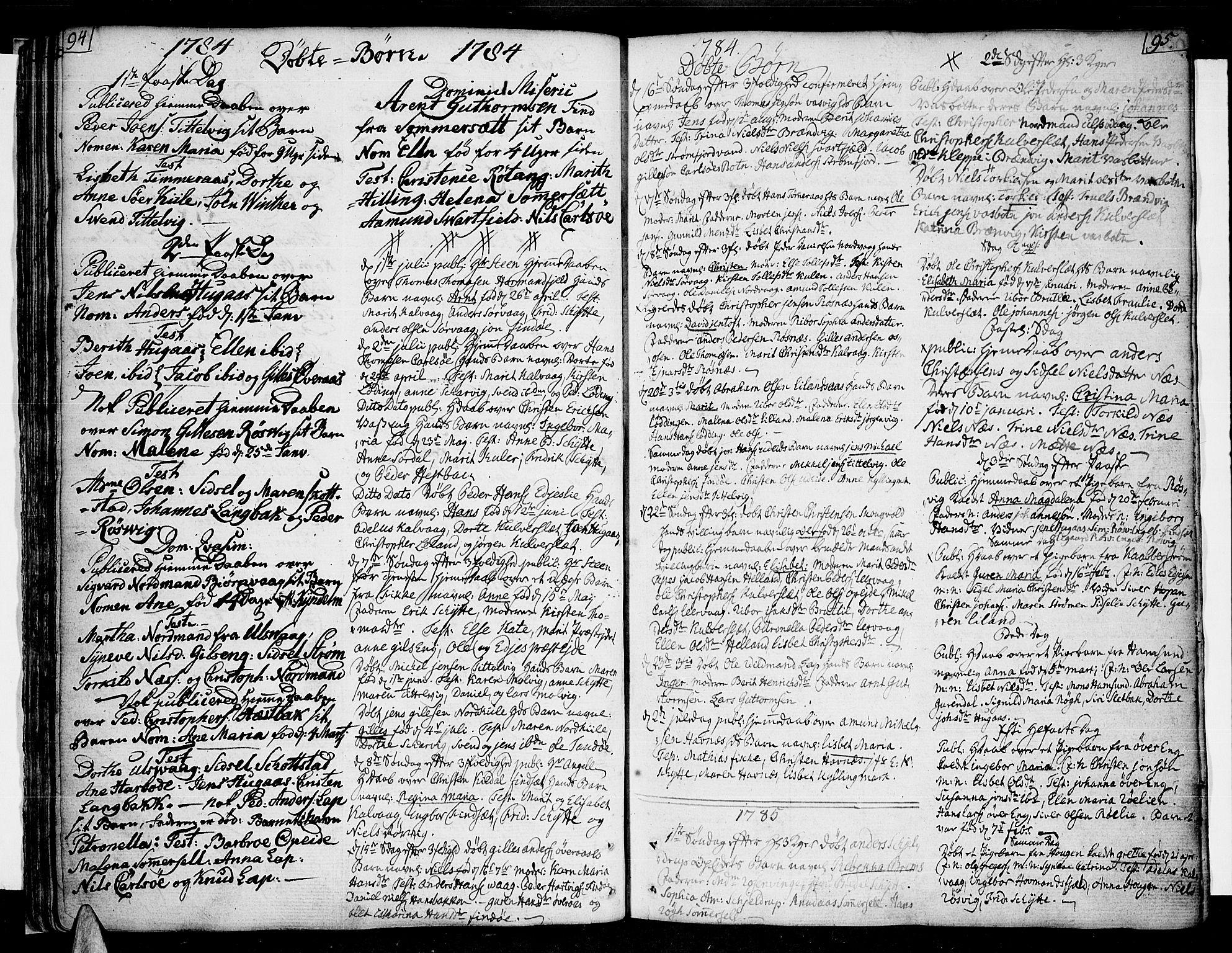 SAT, Ministerialprotokoller, klokkerbøker og fødselsregistre - Nordland, 859/L0841: Parish register (official) no. 859A01, 1766-1821, p. 94-95