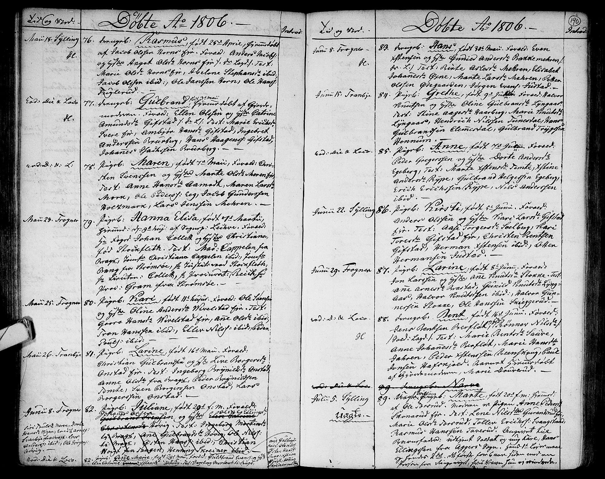SAKO, Lier kirkebøker, F/Fa/L0007: Parish register (official) no. I 7, 1794-1813, p. 190