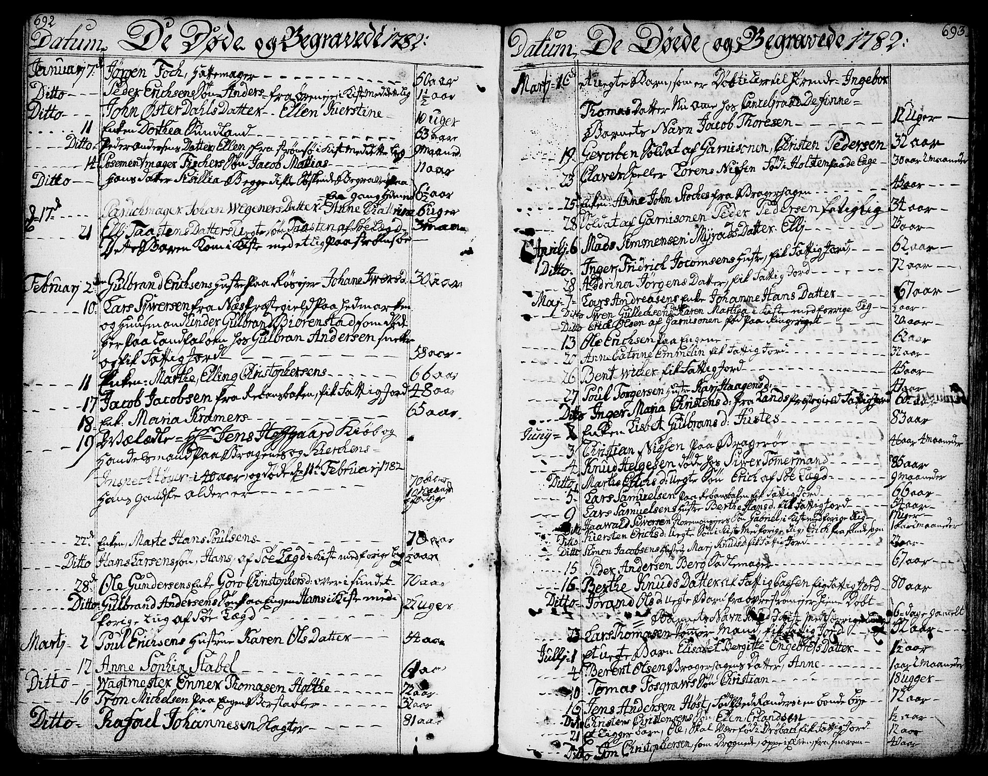 SAKO, Bragernes kirkebøker, F/Fa/L0006a: Parish register (official) no. I 6, 1782-1814, p. 692-693