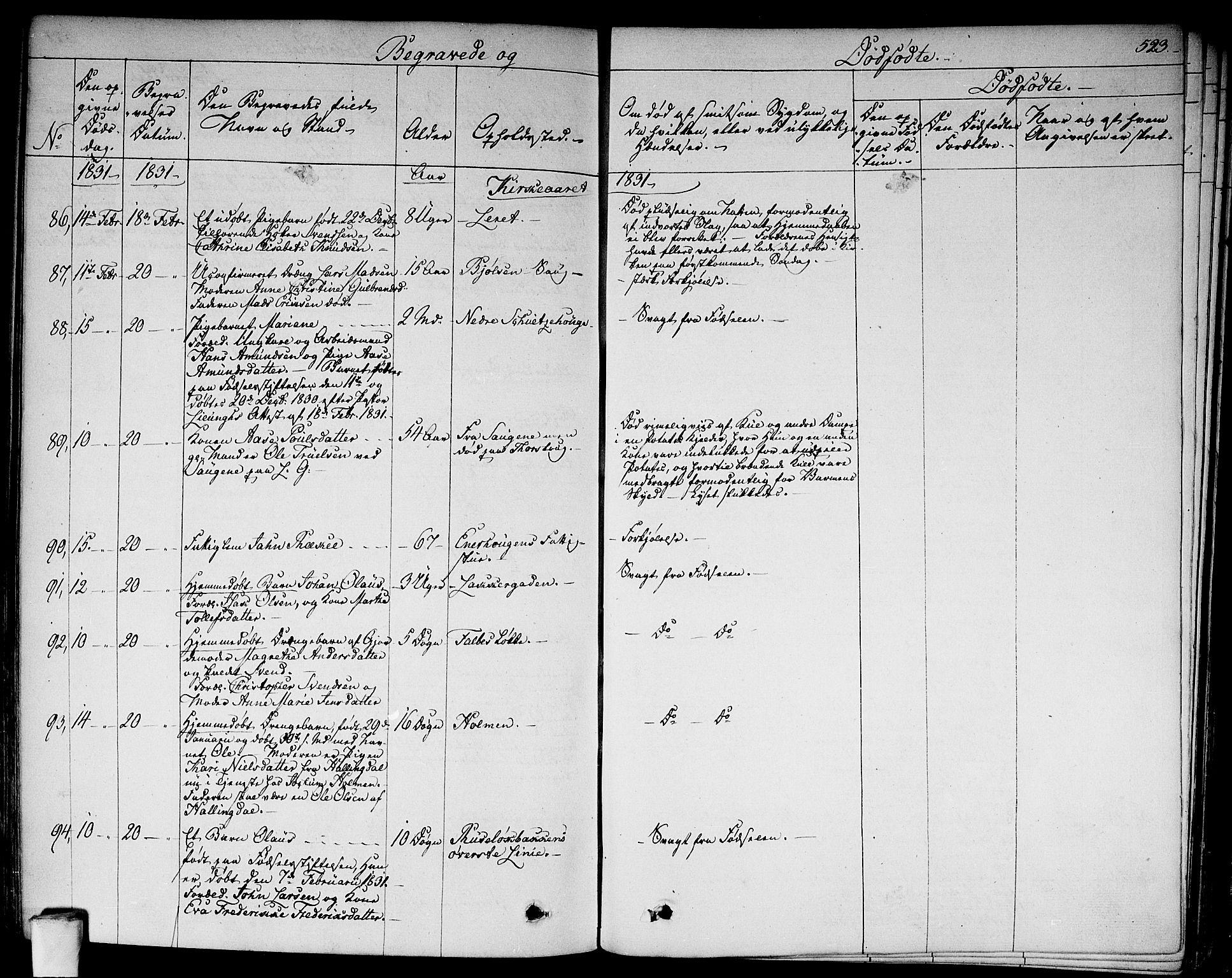 SAO, Aker prestekontor kirkebøker, F/L0013: Parish register (official) no. 13, 1828-1837, p. 523