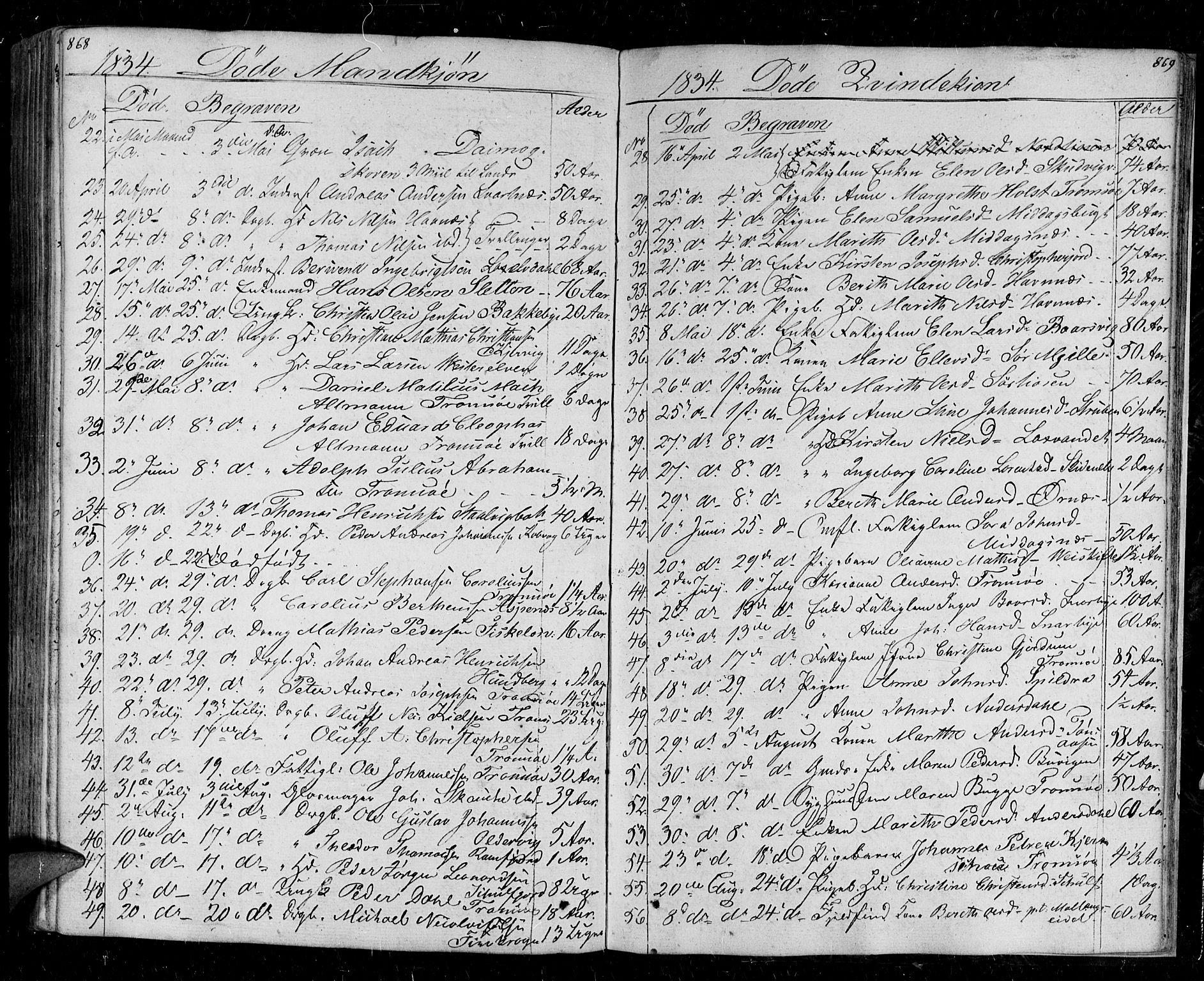 SATØ, Tromsø sokneprestkontor/stiftsprosti/domprosti, G/Ga/L0008kirke: Parish register (official) no. 8, 1829-1837, p. 868-869