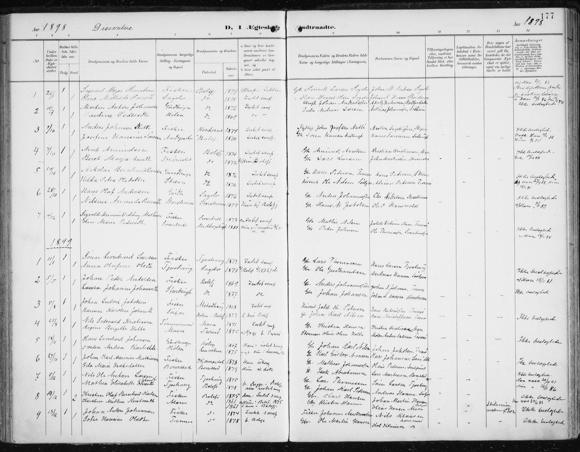 SATØ, Balsfjord sokneprestembete, Parish register (official) no. 6, 1897-1909, p. 177