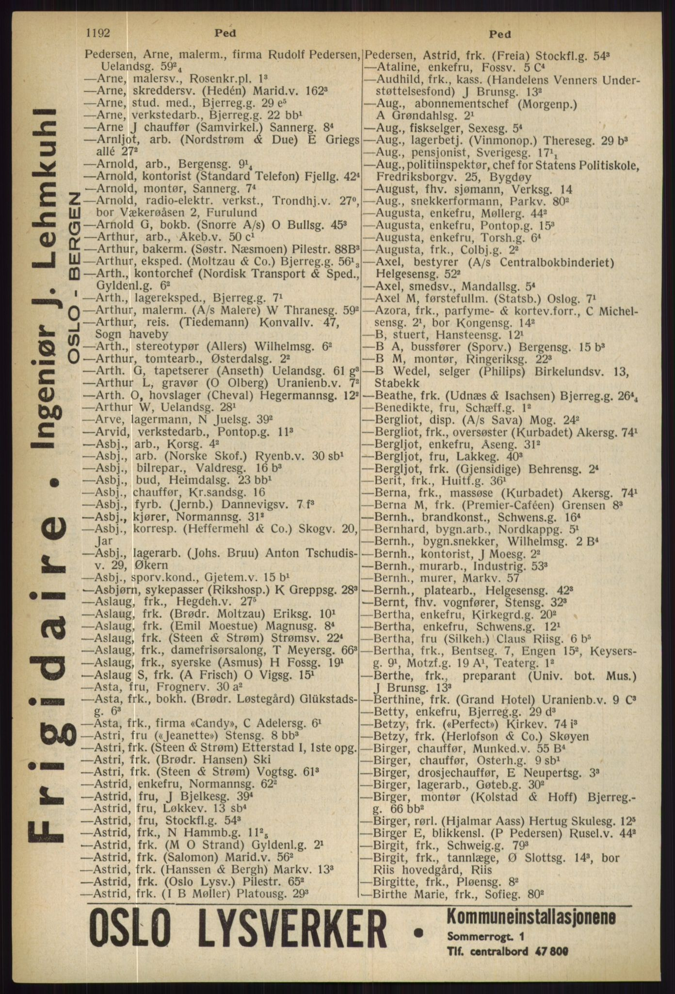 PUBL, Kristiania/Oslo adressebok, 1936, p. 1192
