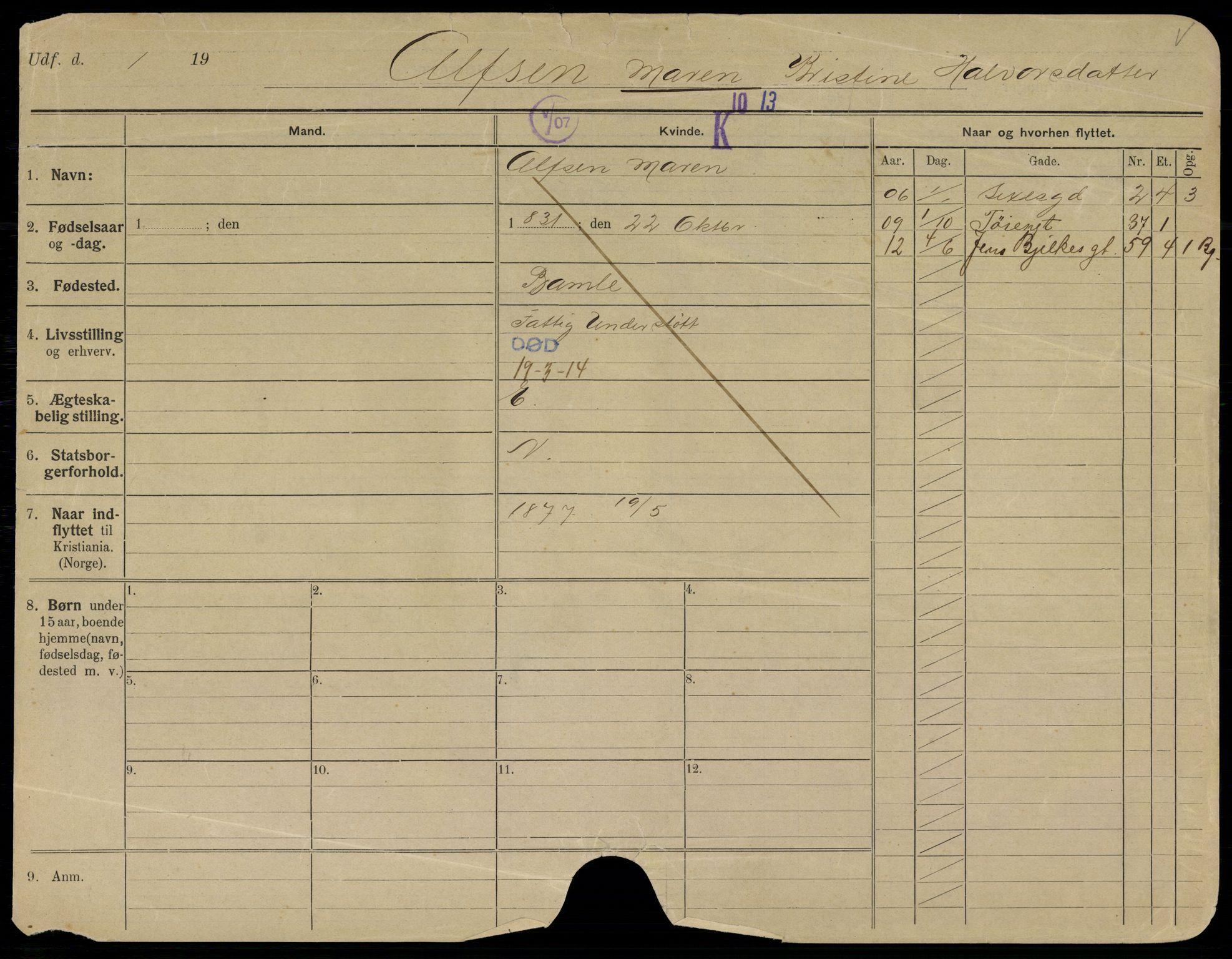 SAO, Oslo folkeregister, Registerkort, G/Gb/L0018: Kvinner, 1914