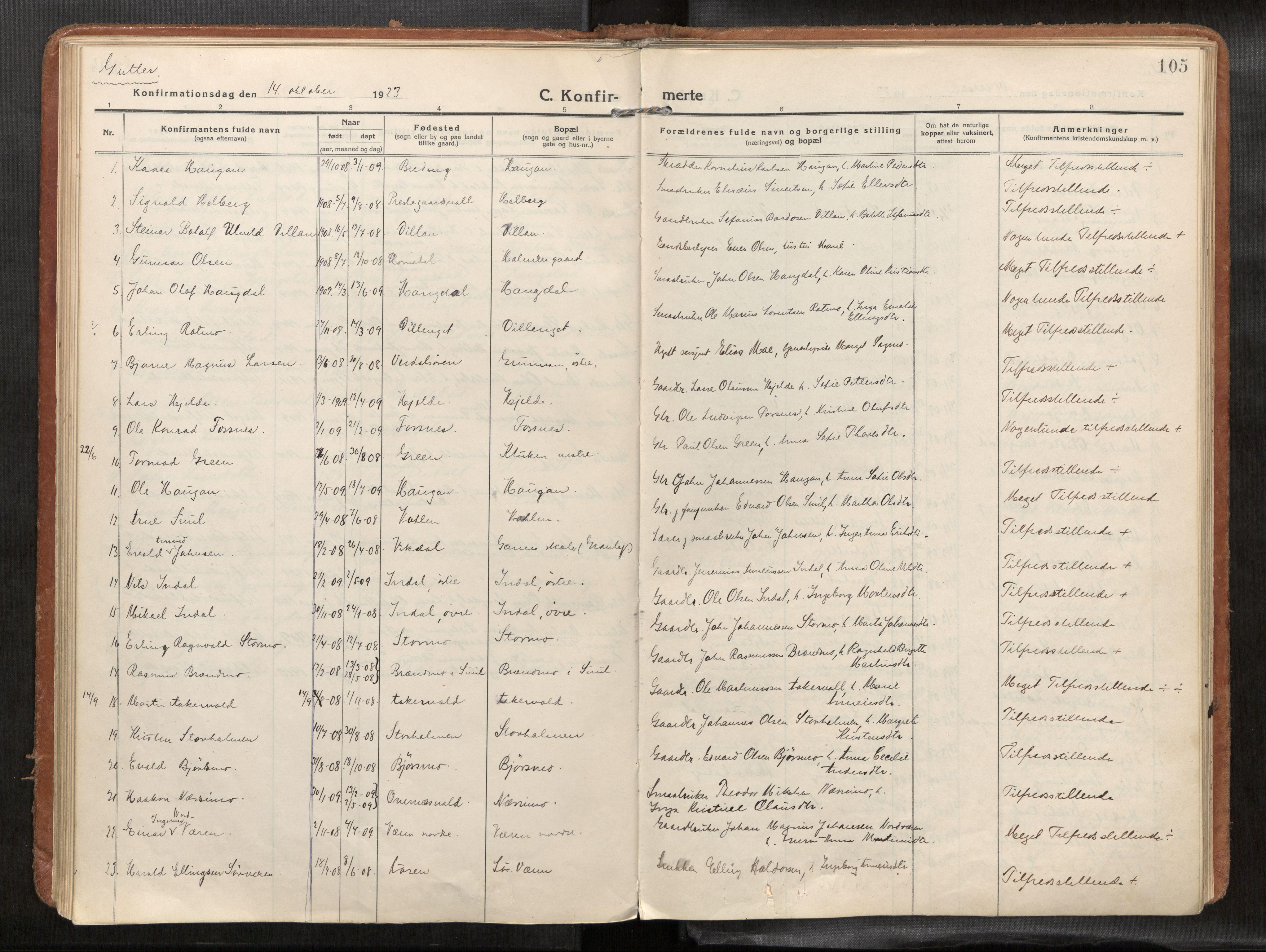 SAT, Verdal sokneprestkontor*, Parish register (official) no. 1, 1916-1928, p. 105