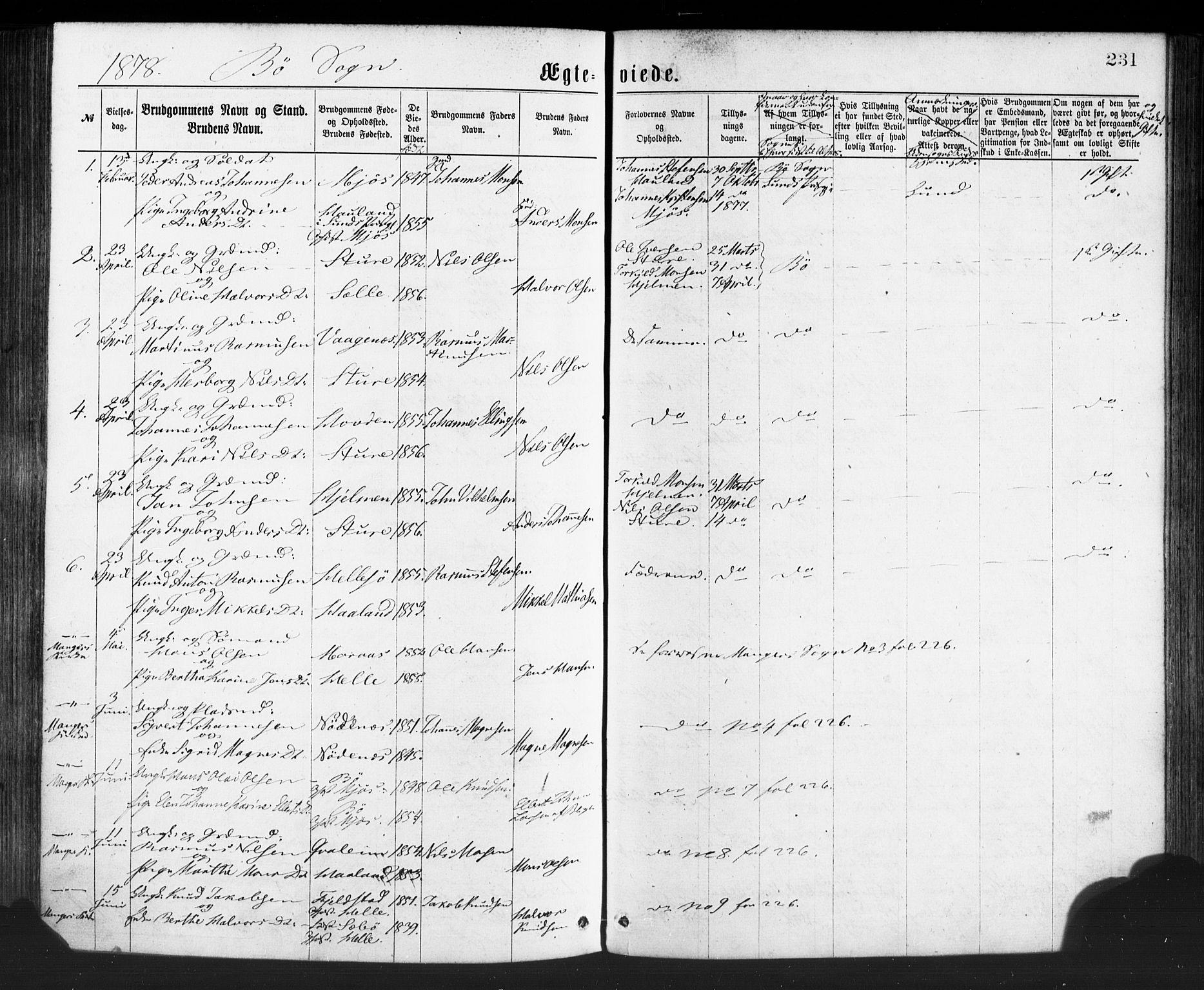 SAB, Manger sokneprestembete, H/Haa: Parish register (official) no. A 8, 1871-1880, p. 231
