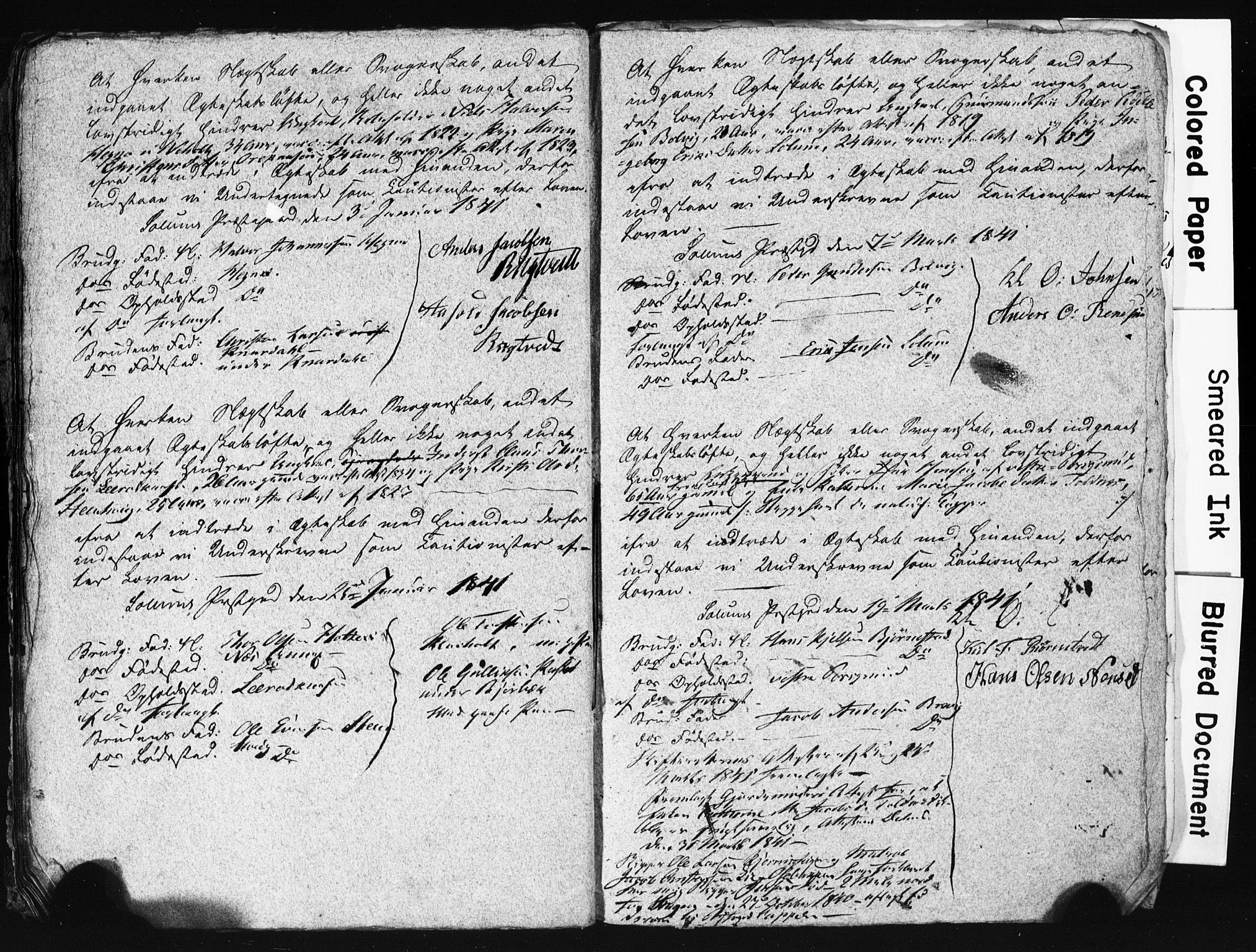 SAKO, Solum kirkebøker, H/Hc/L0001: Best man's statements no. 1, 1834-1843