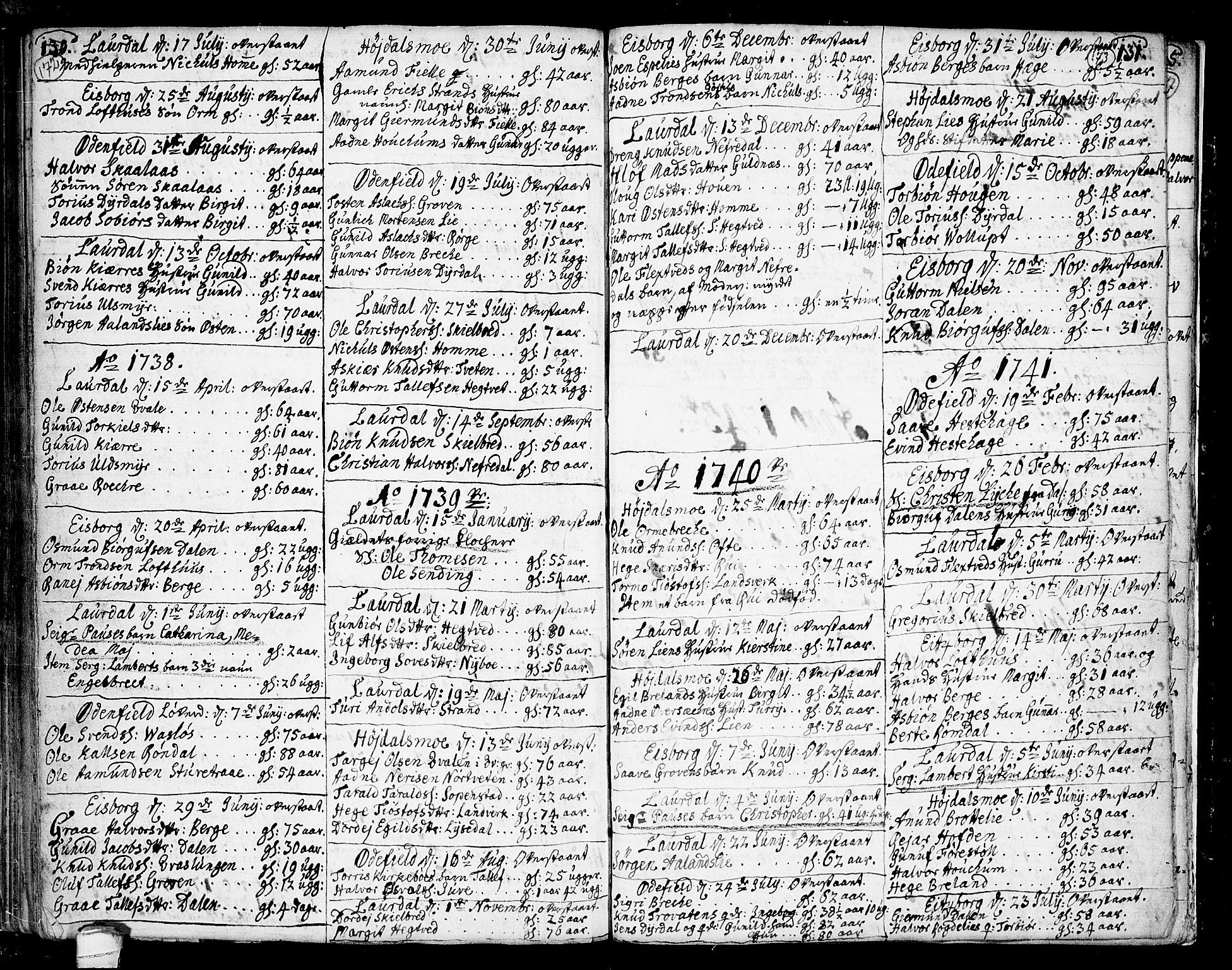 SAKO, Lårdal kirkebøker, F/Fa/L0002: Parish register (official) no. I 2, 1734-1754, p. 172-173