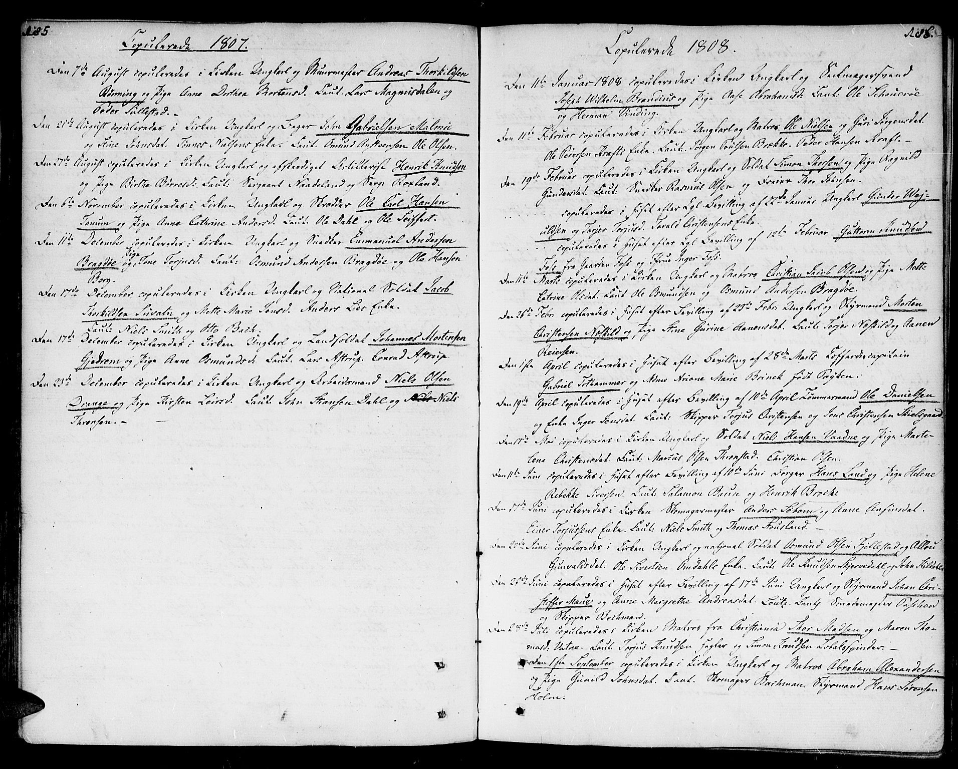 SAK, Kristiansand domprosti, F/Fa/L0005: Parish register (official) no. A 5, 1776-1818, p. 185-186