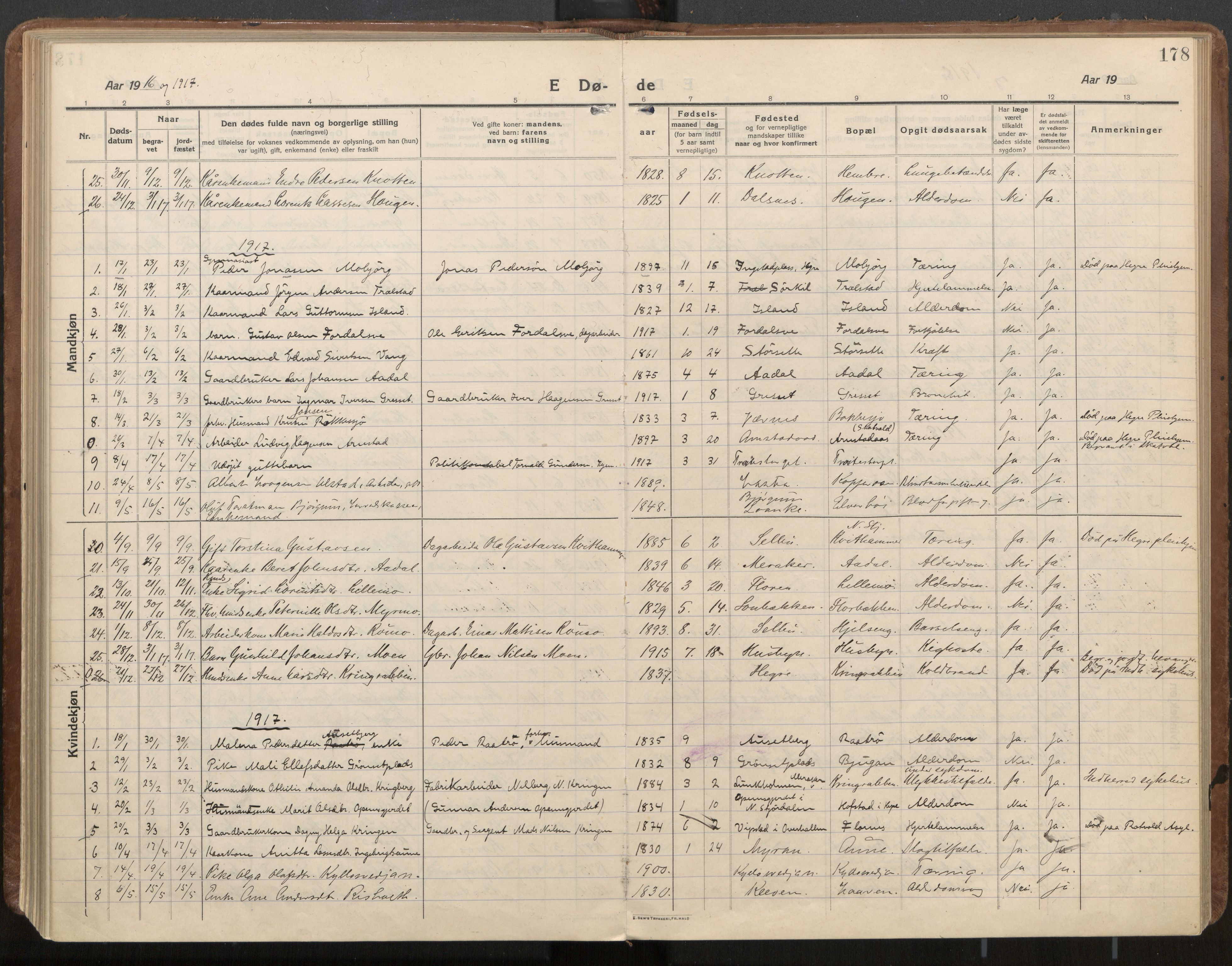 SAT, Ministerialprotokoller, klokkerbøker og fødselsregistre - Nord-Trøndelag, 703/L0037: Parish register (official) no. 703A10, 1915-1932, p. 178