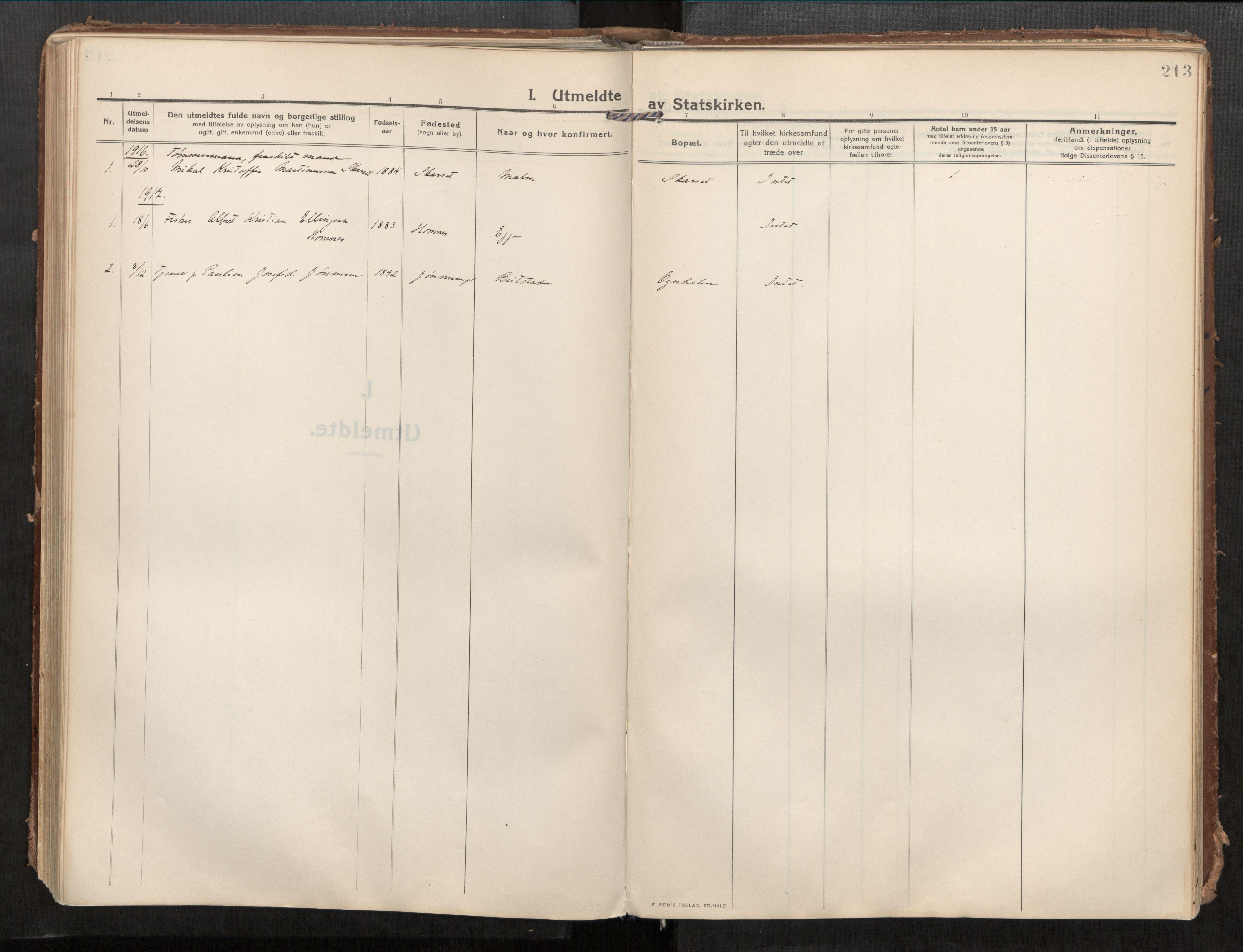 SAT, Beitstad sokneprestkontor, I/I1/I1a/L0001: Parish register (official) no. 1, 1912-1927, p. 213