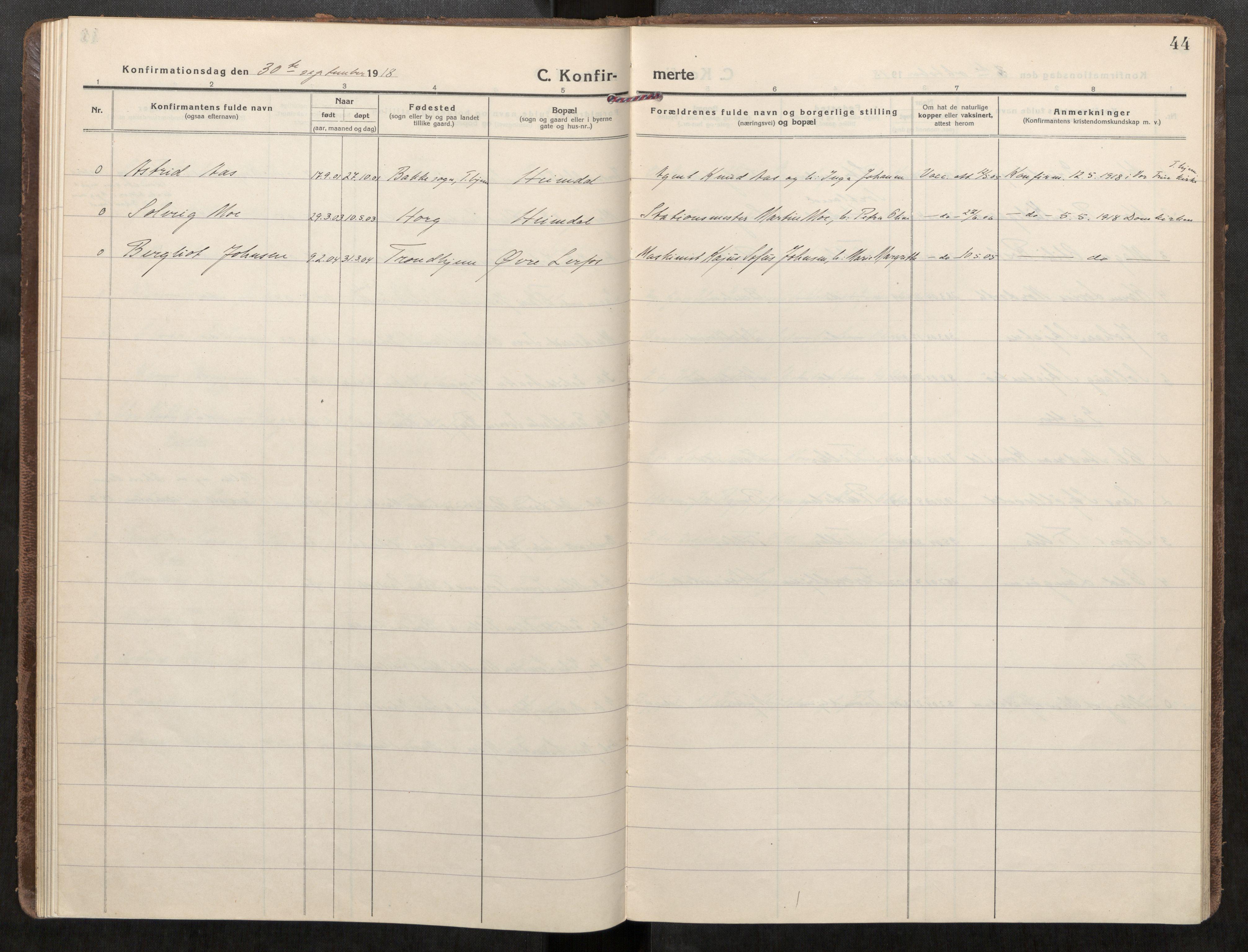 SAT, Klæbu sokneprestkontor, Parish register (official) no. 3, 1917-1924, p. 44