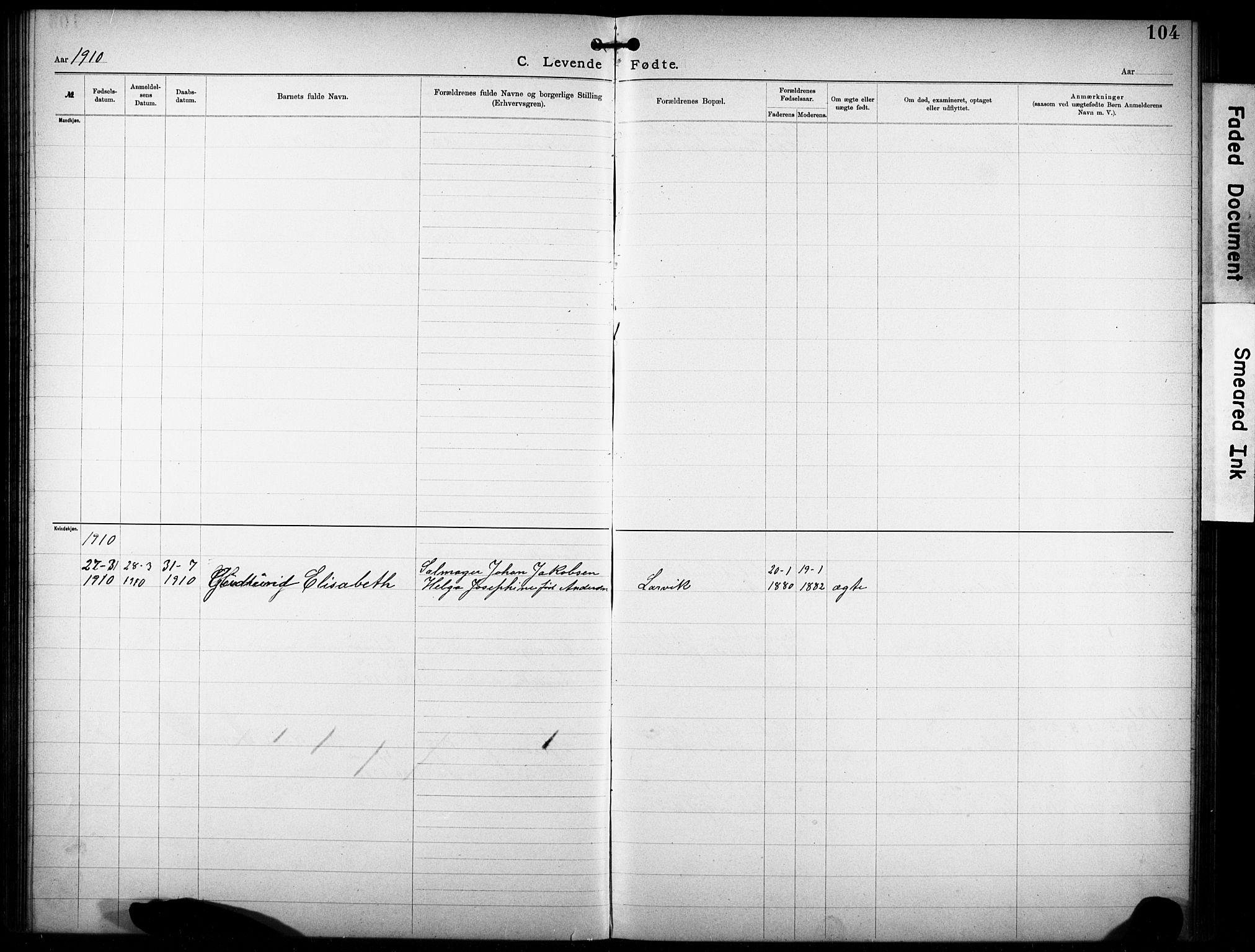 SAKO, Den katolsk-apostoliske menighet i Larvik, F/Fa/L0001: Dissenter register no. 1, 1892-1933, p. 104