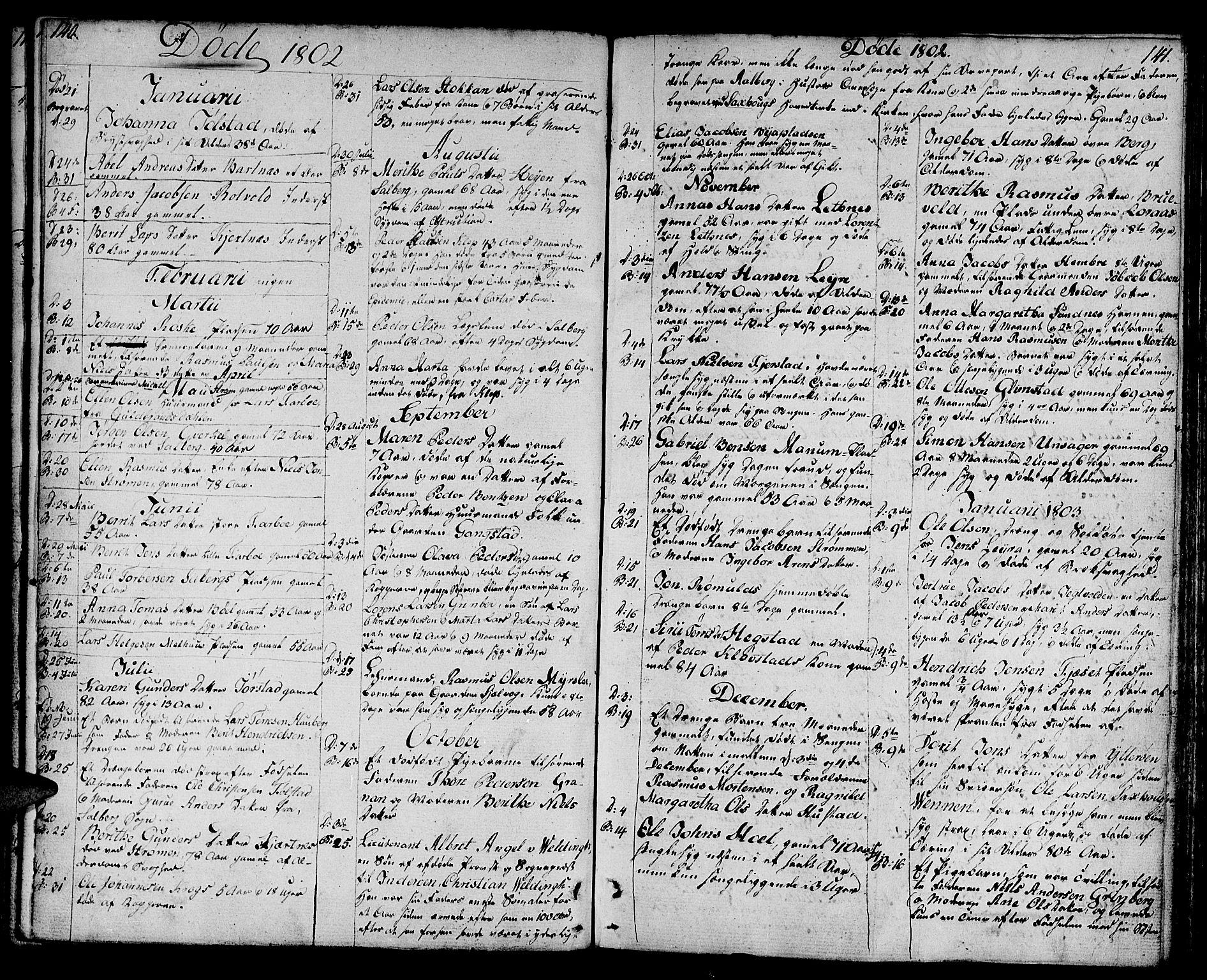 SAT, Ministerialprotokoller, klokkerbøker og fødselsregistre - Nord-Trøndelag, 730/L0274: Parish register (official) no. 730A03, 1802-1816, p. 140-141