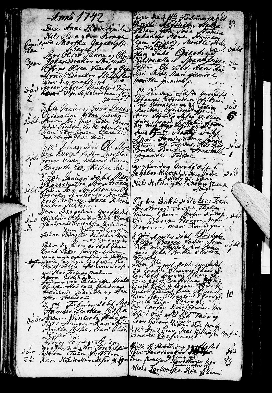 SAB, Os sokneprestembete*, Parish register (official) no. A 2, 1723-1758, p. 53