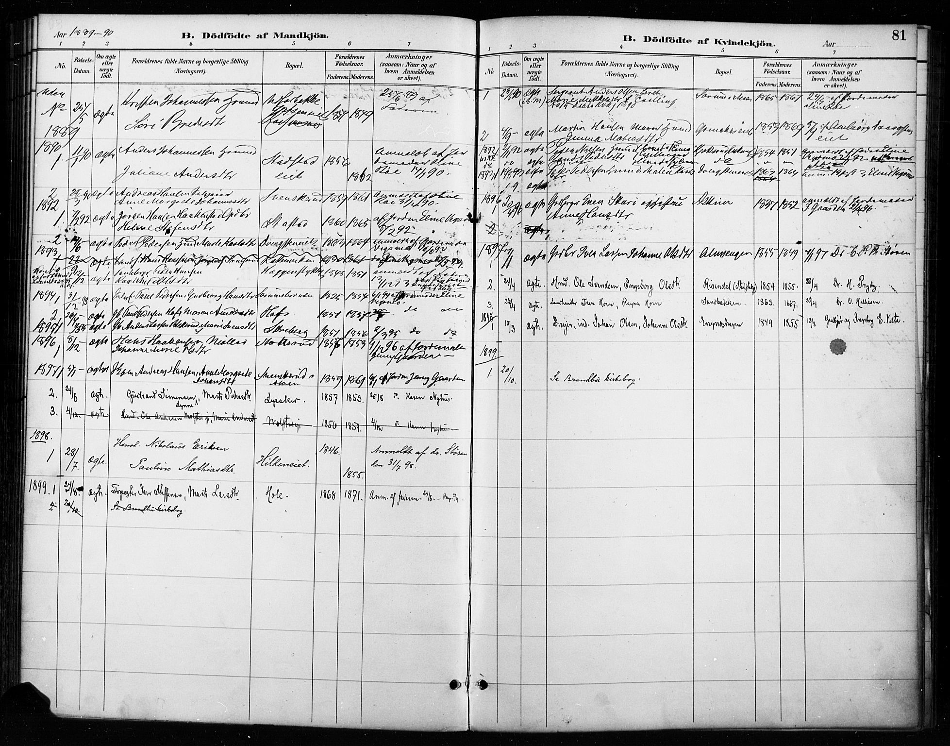SAH, Gran prestekontor, Parish register (official) no. 18, 1889-1899, p. 81