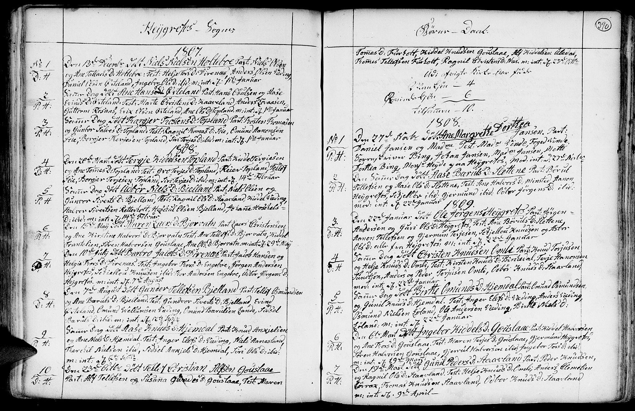 SAK, Hommedal sokneprestkontor, F/Fa/Fab/L0002: Parish register (official) no. A 2 /3, 1740-1821, p. 390