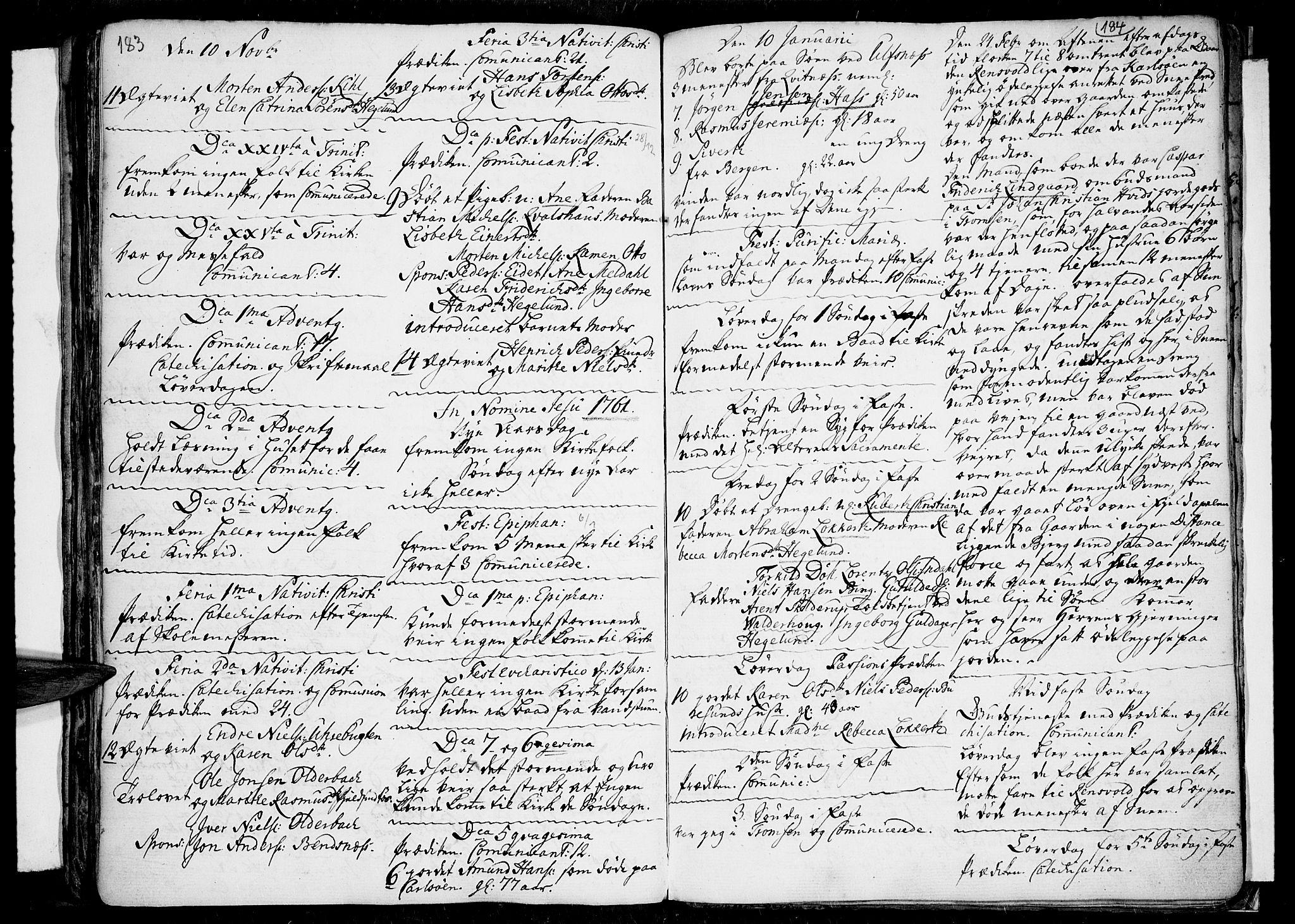 SATØ, Tromsø sokneprestkontor/stiftsprosti/domprosti, G/Ga/L0001kirke: Parish register (official) no. 1, 1709-1771, p. 183-184