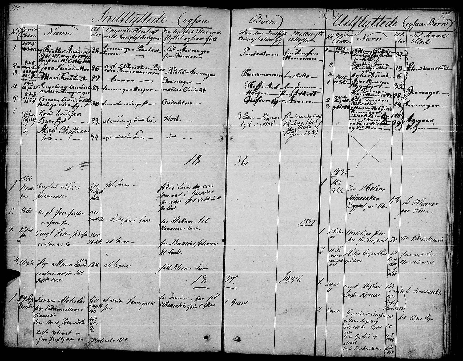 SAH, Gran prestekontor, Parish register (official) no. 10, 1824-1842, p. 994-995