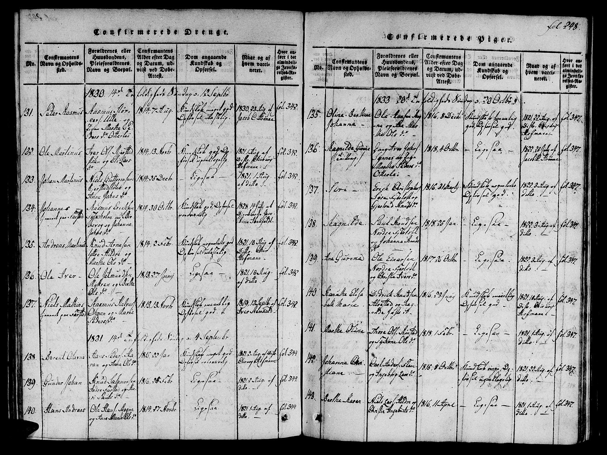 SAT, Ministerialprotokoller, klokkerbøker og fødselsregistre - Møre og Romsdal, 536/L0495: Parish register (official) no. 536A04, 1818-1847, p. 248