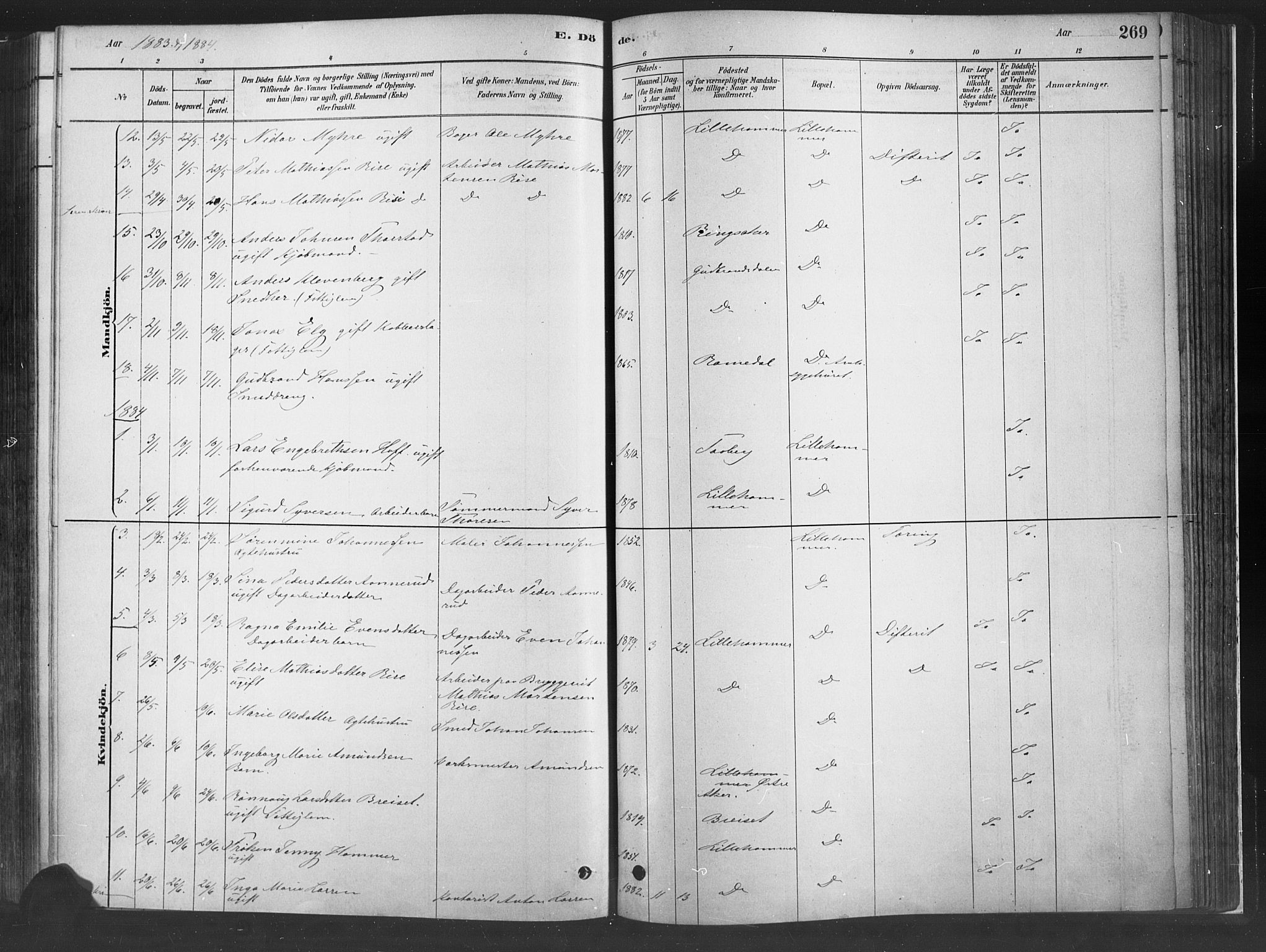 SAH, Fåberg prestekontor, H/Ha/Haa/L0010: Parish register (official) no. 10, 1879-1900, p. 269