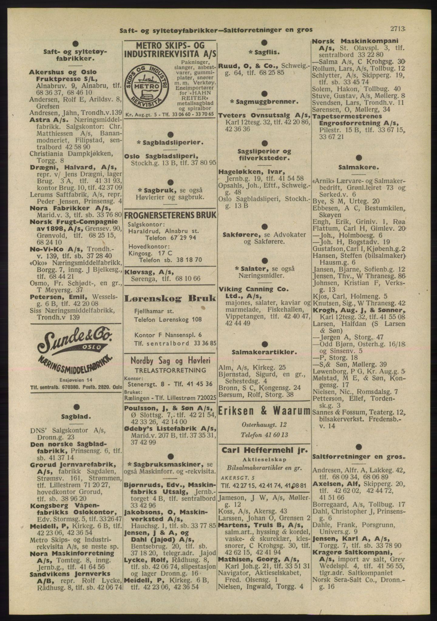 PUBL, Kristiania/Oslo adressebok, 1955, p. 2713