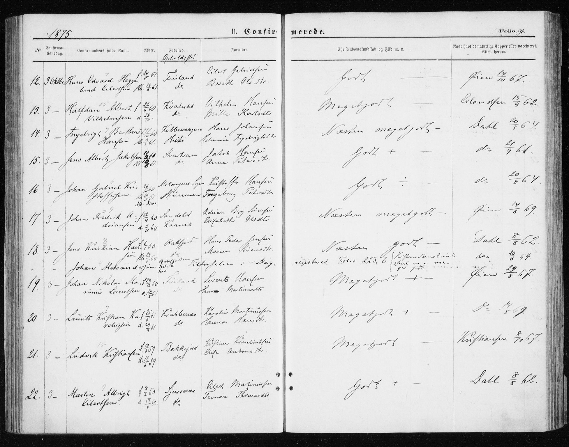 SATØ, Tromsøysund sokneprestkontor, G/Ga/L0003kirke: Parish register (official) no. 3, 1875-1880, p. 93