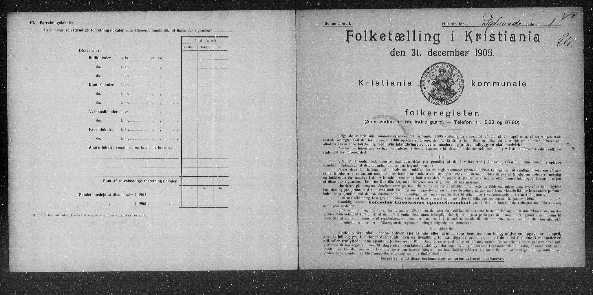 OBA, Municipal Census 1905 for Kristiania, 1905, p. 9101