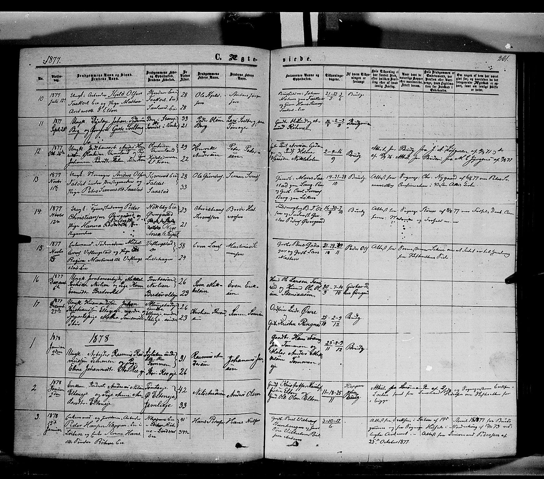 SAH, Stange prestekontor, K/L0013: Parish register (official) no. 13, 1862-1879, p. 261