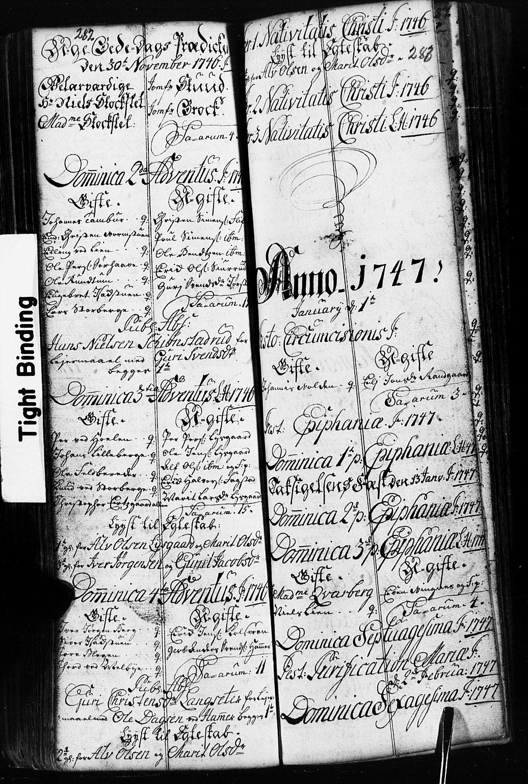 SAH, Fåberg prestekontor, Parish register (copy) no. 2, 1741-1756, p. 282-283