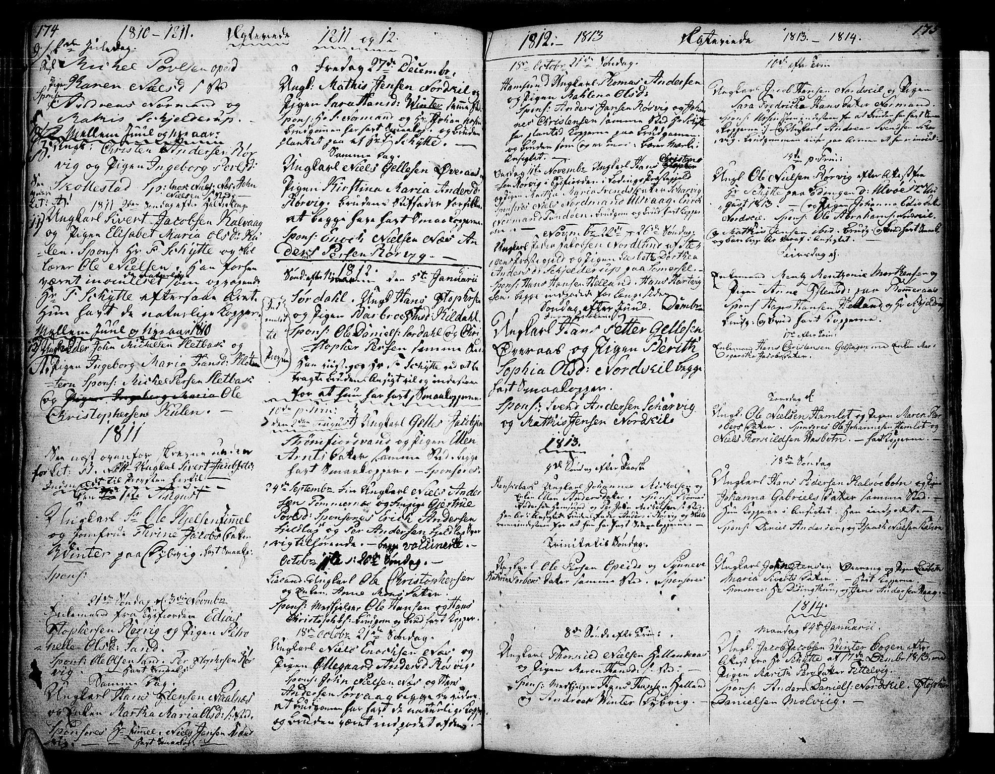 SAT, Ministerialprotokoller, klokkerbøker og fødselsregistre - Nordland, 859/L0841: Parish register (official) no. 859A01, 1766-1821, p. 174-175