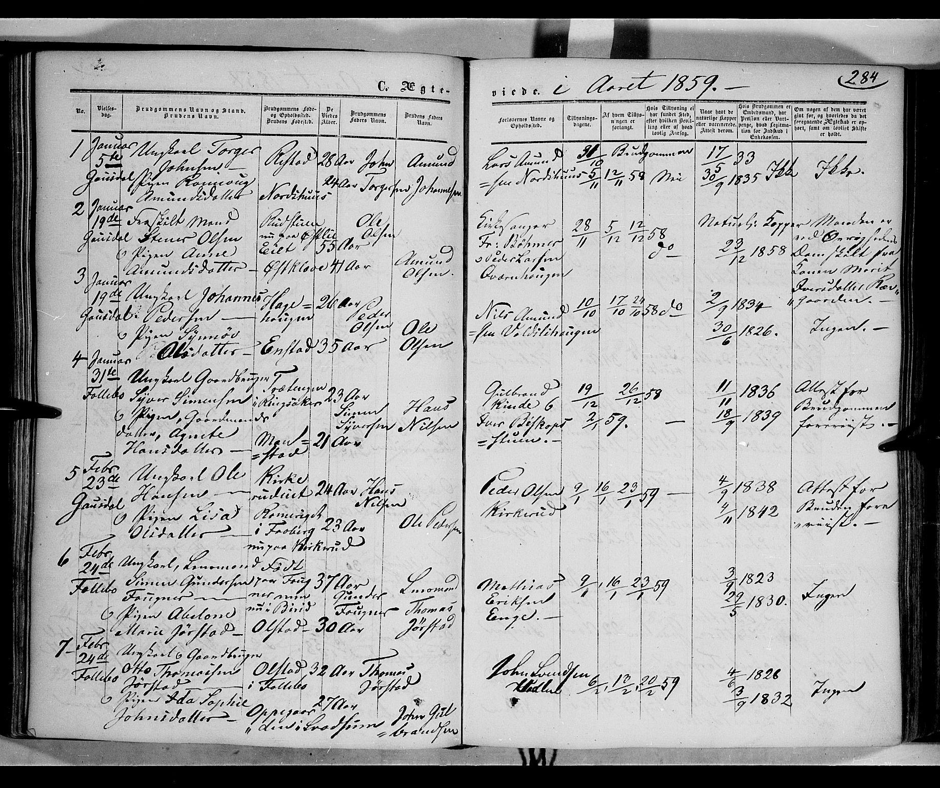 SAH, Gausdal prestekontor, Parish register (official) no. 8, 1850-1861, p. 284