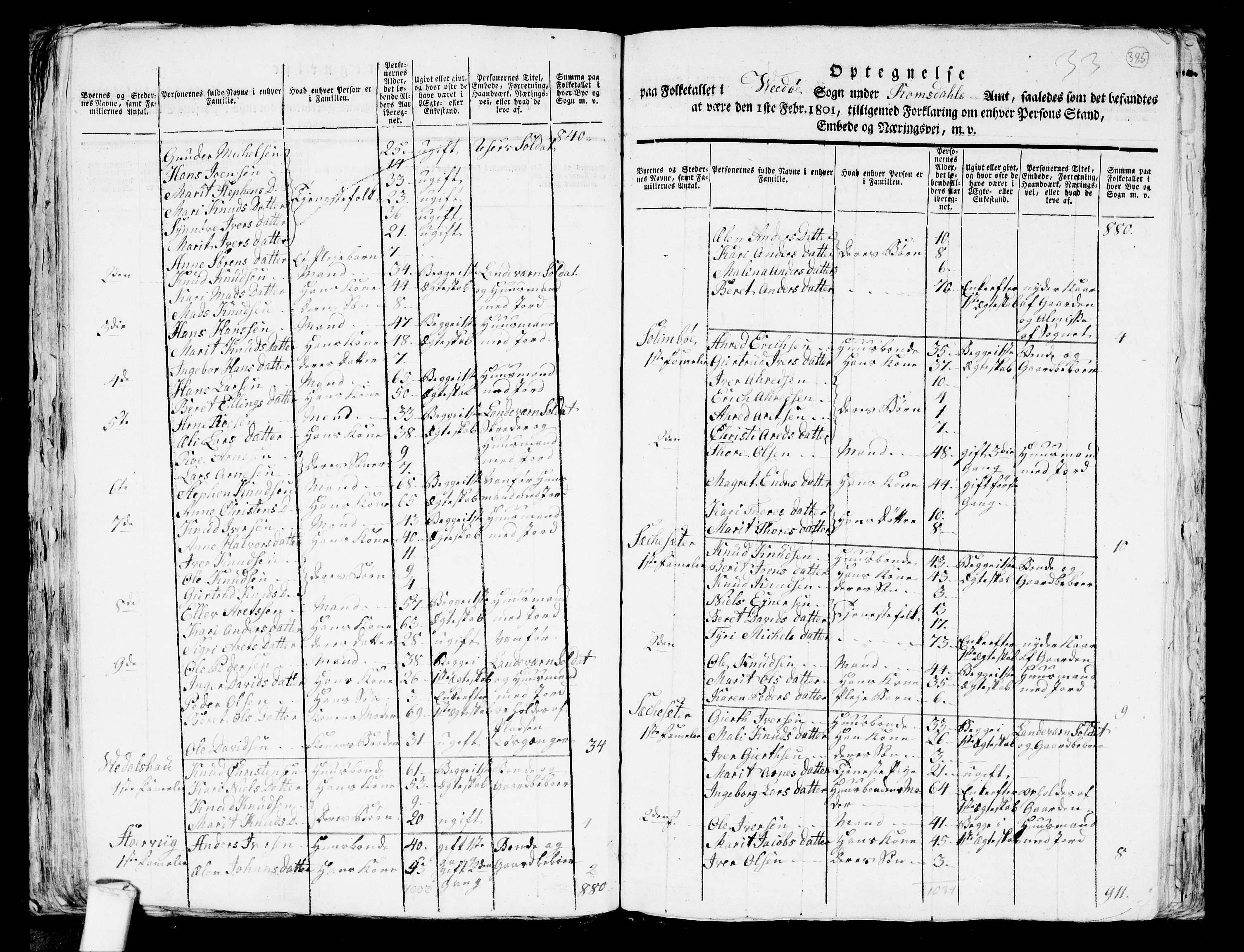 RA, 1801 census for 1541P Veøy, 1801, p. 384b-385a