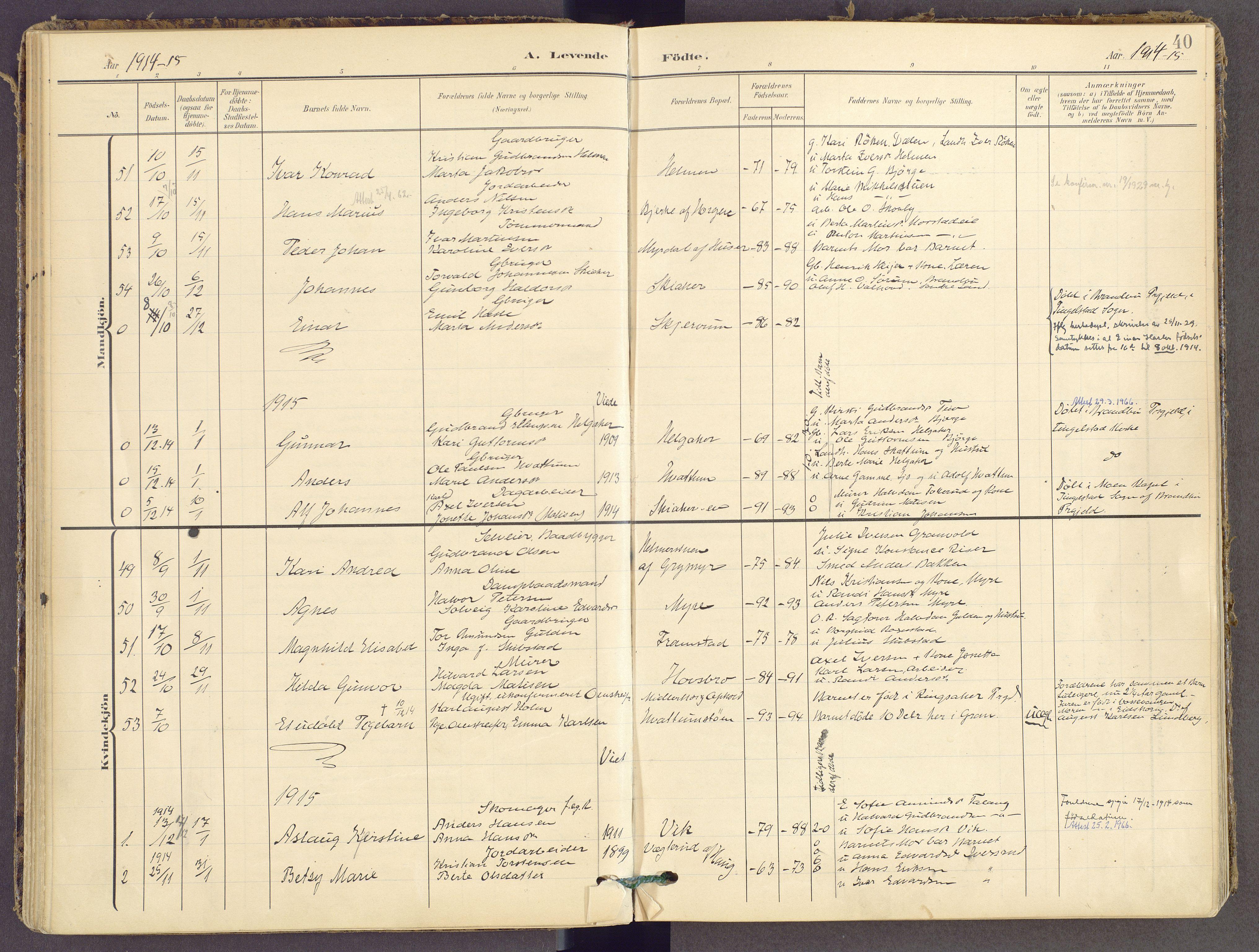 SAH, Gran prestekontor, Parish register (official) no. 21, 1908-1932, p. 40