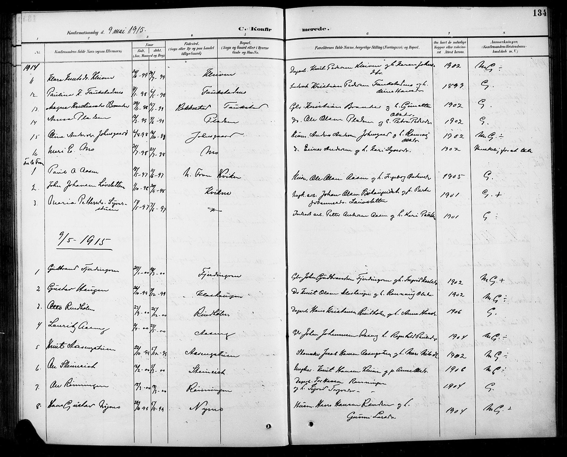 SAH, Sel prestekontor, Parish register (copy) no. 5, 1894-1923, p. 134
