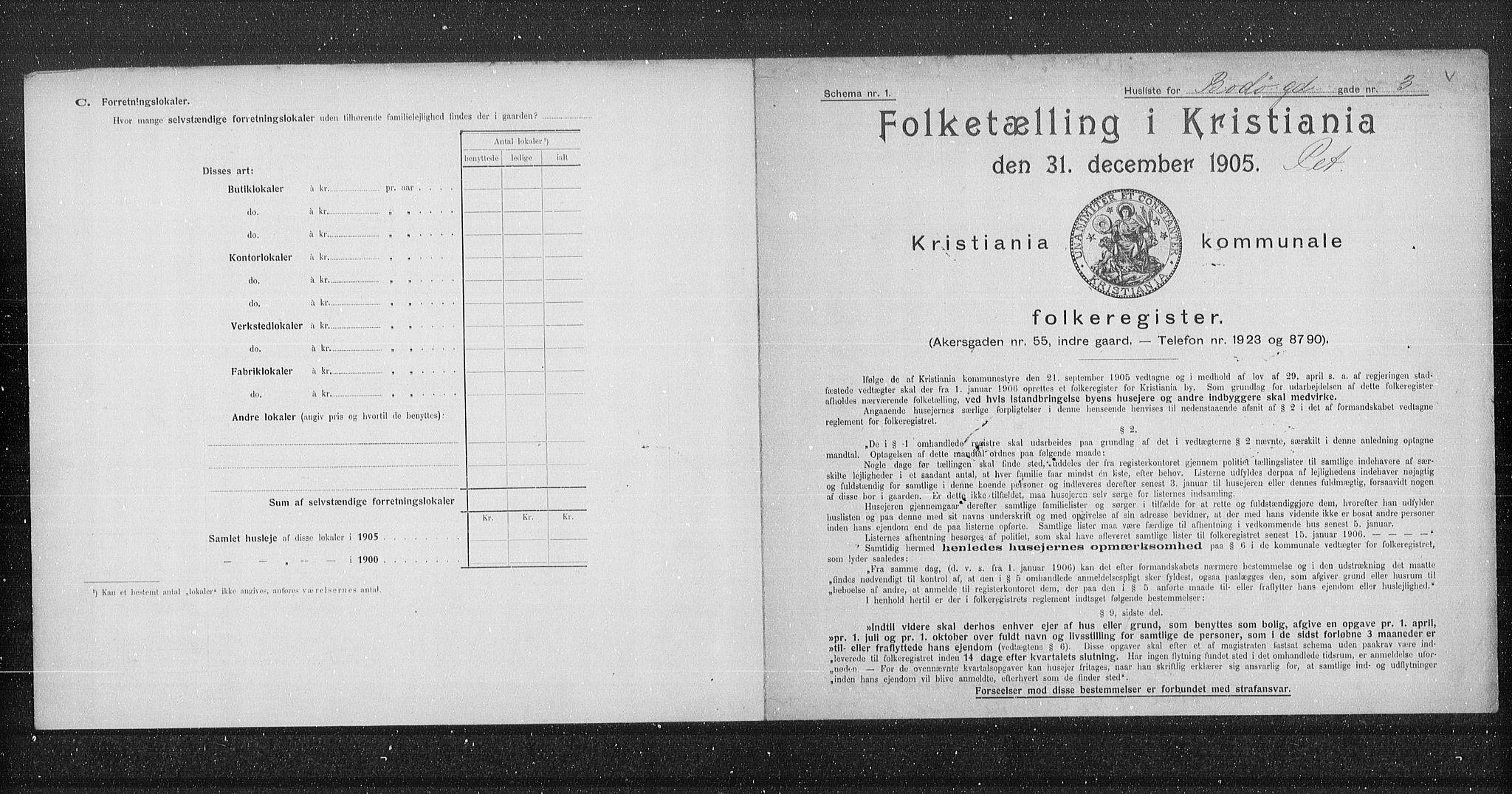 OBA, Municipal Census 1905 for Kristiania, 1905, p. 3310