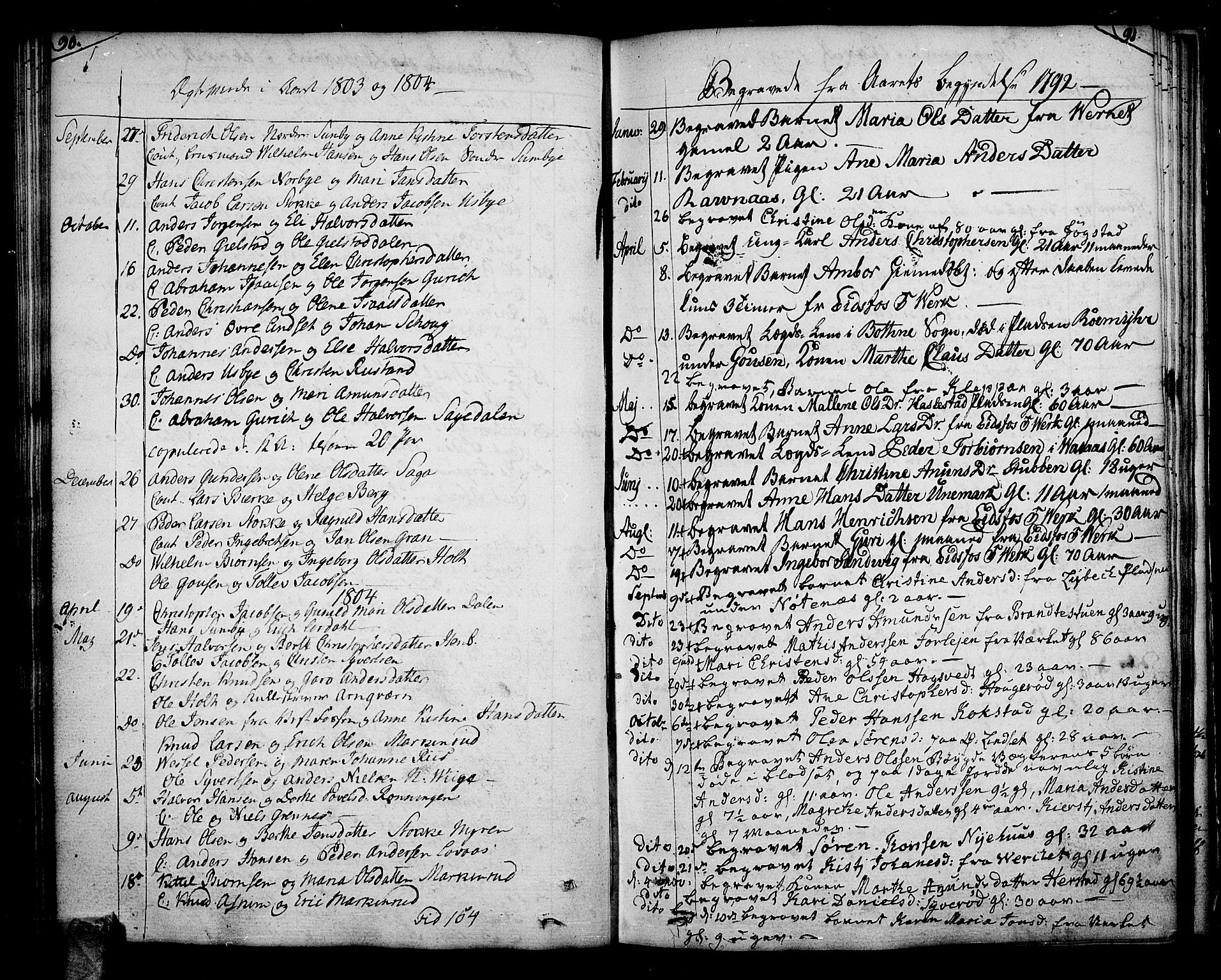 SAKO, Hof kirkebøker, F/Fa/L0003: Parish register (official) no. I 3, 1782-1814, p. 90-91