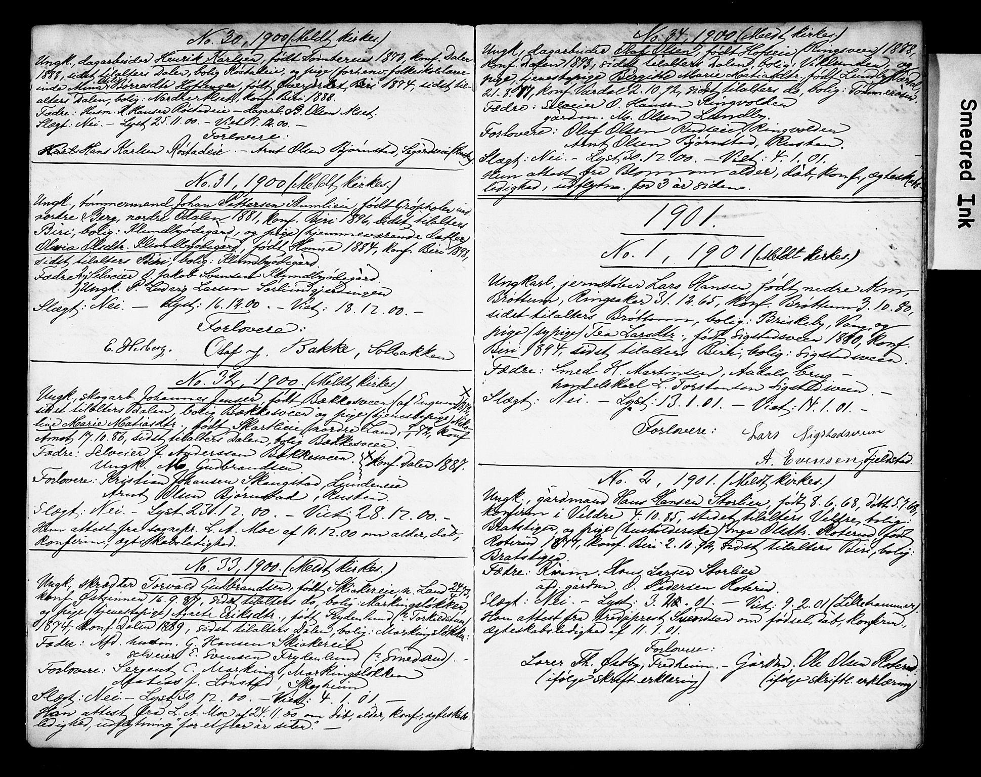 SAH, Biri prestekontor, I/Ie/Iea/L0001/0002: Banns register no. 1.2, 1900-1909